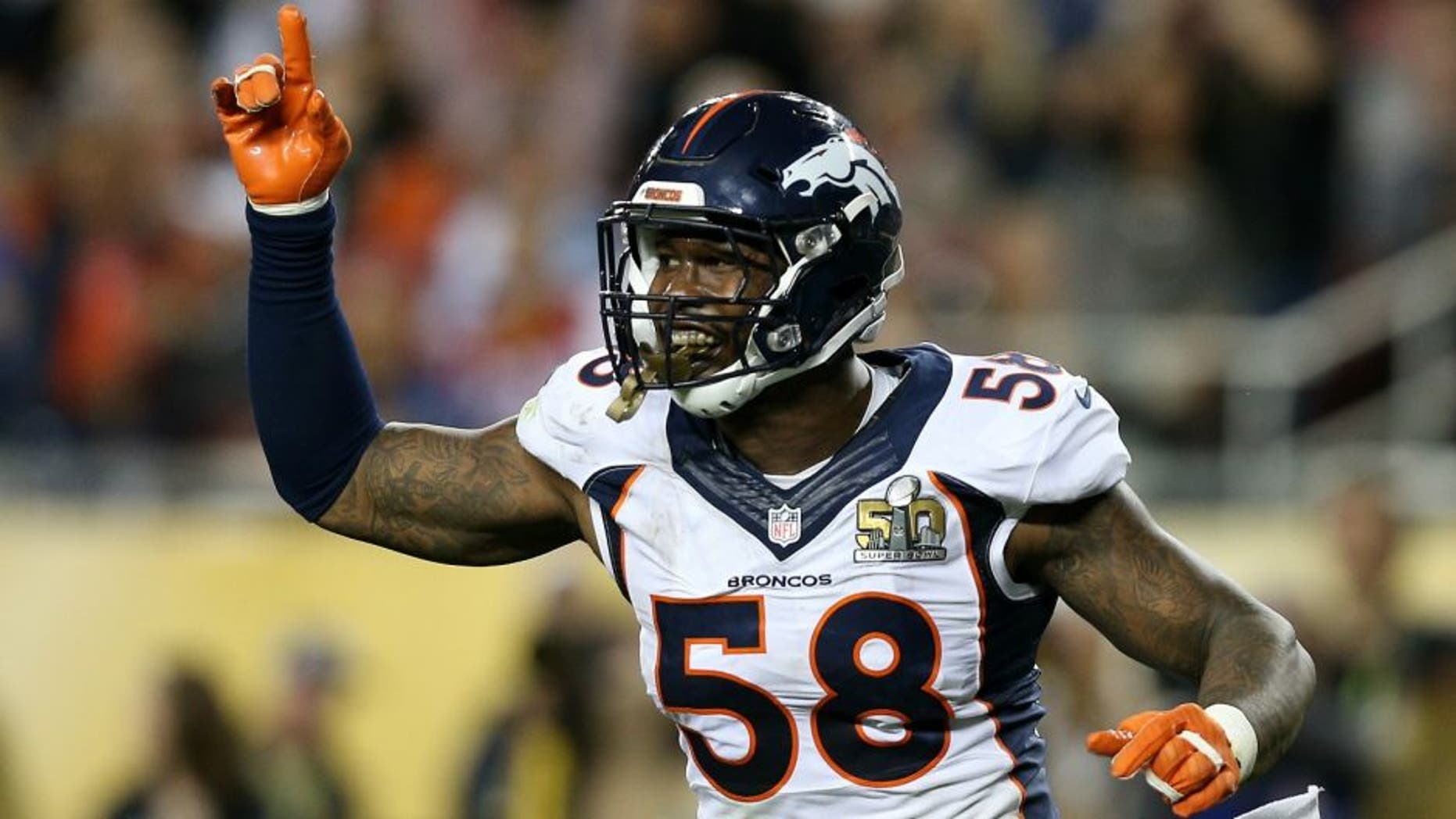 during Super Bowl 50 at Levi's Stadium on February 7, 2016 in Santa Clara, California.,SANTA CLARA, CA - FEBRUARY 07: Von Miller #58 of the Denver Broncos reacts after a play against the Carolina Panthers in the fourth quarter during Super Bowl 50 at Levi's Stadium on February 7, 2016 in Santa Clara, California. (Photo by Patrick Smith/Getty Images)