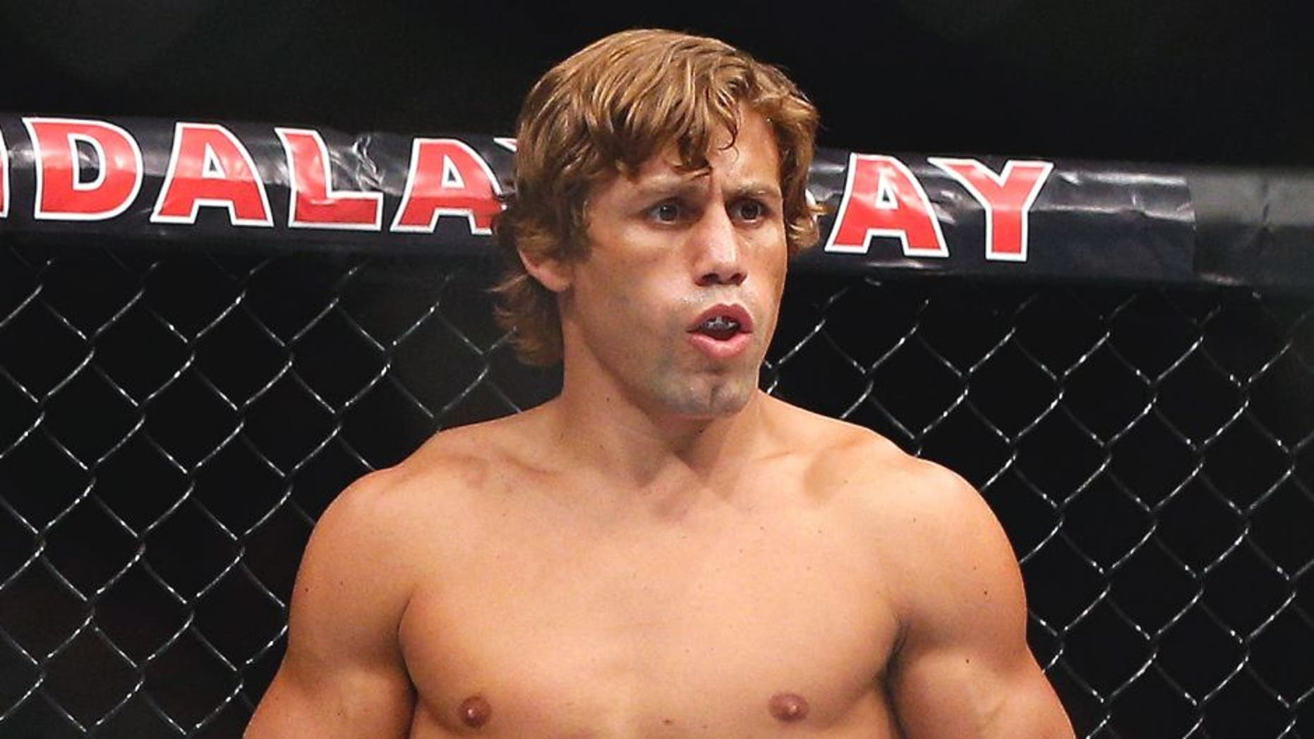 LAS VEGAS, NV - JULY 05: Urijah Faber prepares for his fight with Alex Caceres in their bantamweight fight at UFC 175 inside the Mandalay Bay Events Center on July 5, 2014 in Las Vegas, Nevada. (Photo by Josh Hedges/Zuffa LLC/Zuffa LLC via Getty Images)