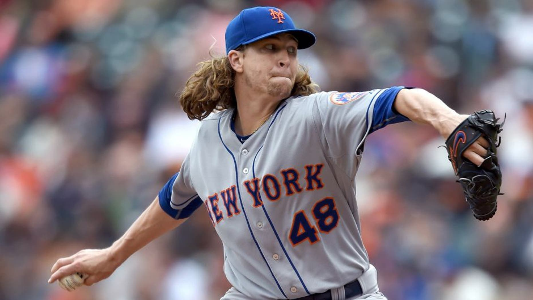 SAN FRANCISCO, CA - JULY 08: Jacob deGrom #48 of the New York Mets pitches against the San Francisco Giants in the bottom of the eighth inning at AT&T Park on July 8, 2015 in San Francisco, California. The Mets won the game 4-1. (Photo by Thearon W. Henderson/Getty Images)