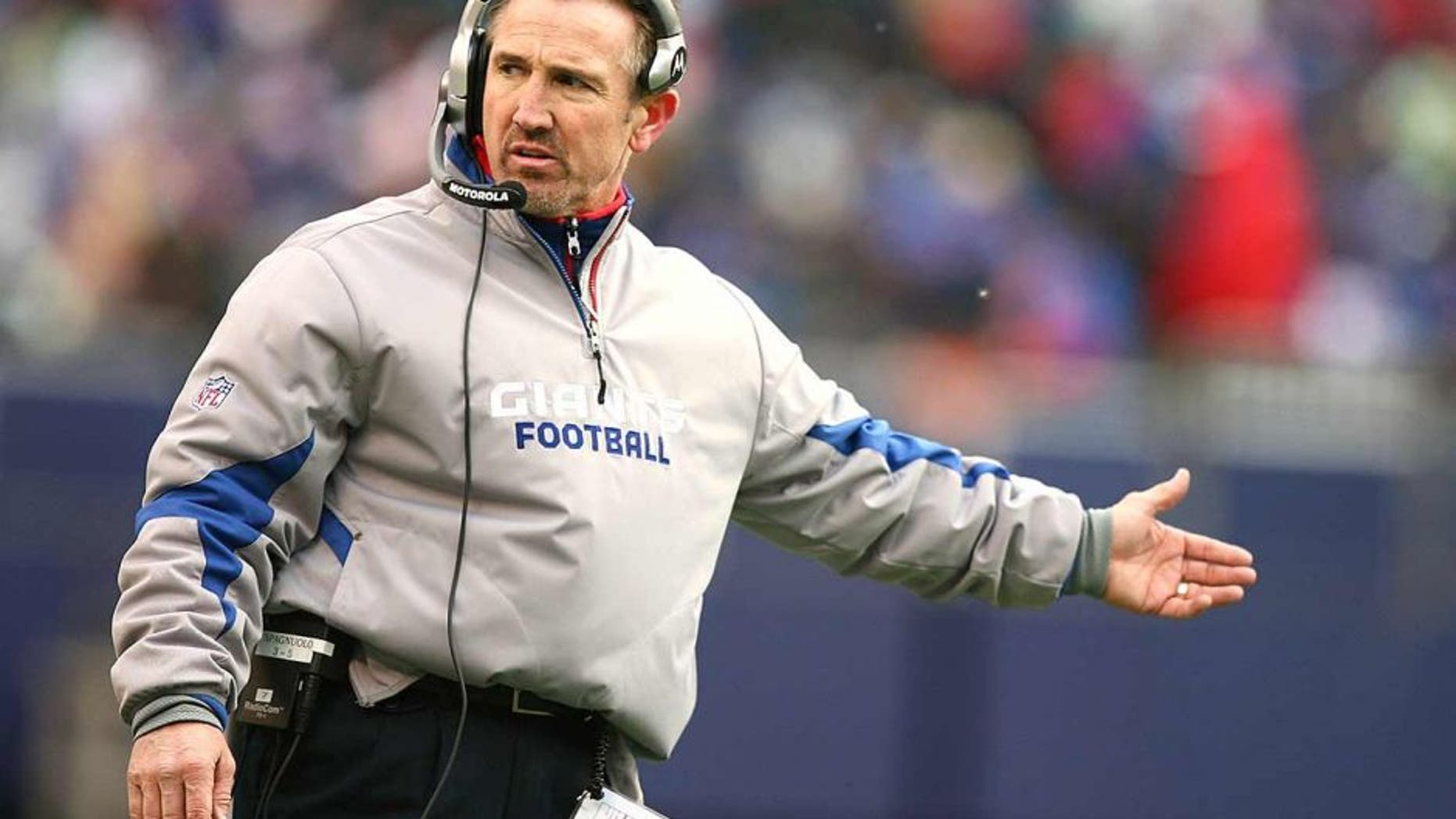 EAST RUTHERFORD, NJ - DECEMBER 07: Steve Spagnulo, Defensive Coordinator of the New York Giants coaches against the Philadelphia Eagles during their game on December 7, 2008 at Giants Stadium in East Rutherford, New Jersey. (Photo by Al Bello/Getty Images)