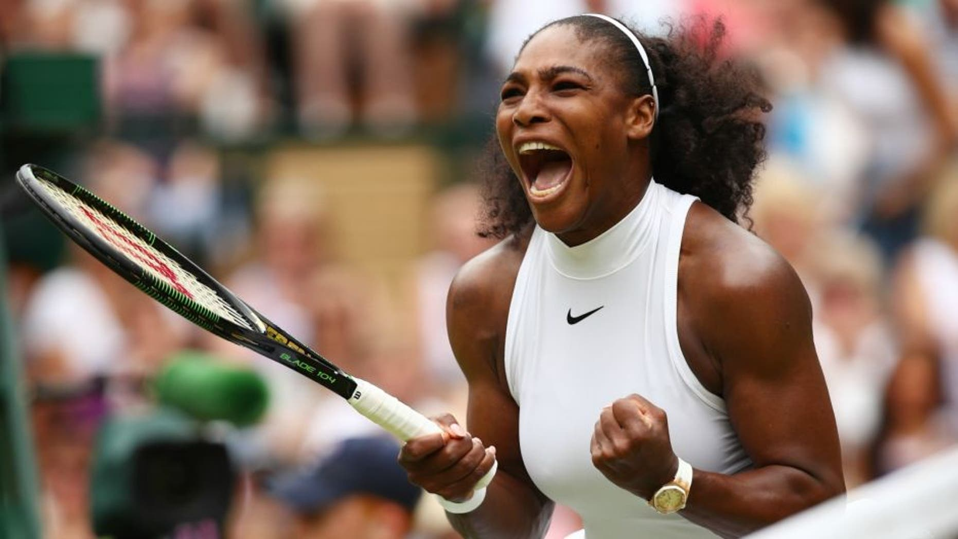 **** during the **** against **** on day twelve of the Wimbledon Lawn Tennis Championships at the All England Lawn Tennis and Croquet Club on July 9, 2016 in London, England.,LONDON, ENGLAND - JULY 09: Serena Williams of The United States celebrates during The Ladies Singles Final against Angelique Kerber of Germany on day twelve of the Wimbledon Lawn Tennis Championships at the All England Lawn Tennis and Croquet Club on July 9, 2016 in London, England. (Photo by Clive Brunskill/Getty Images)