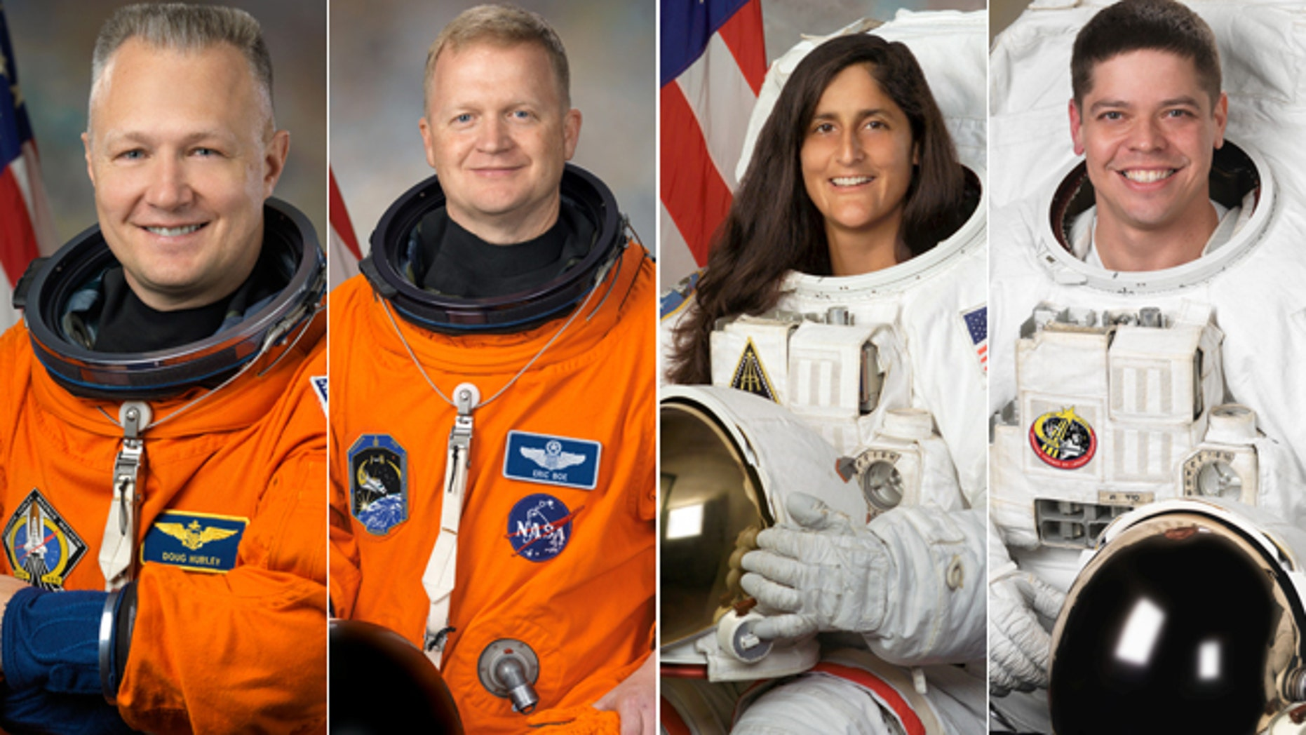 NASA selects 4 astronauts to lead commercial space missions. Pictured from left to right: Douglas Hurley, Eric Boe, Sunita Williams and Robert Behnken.