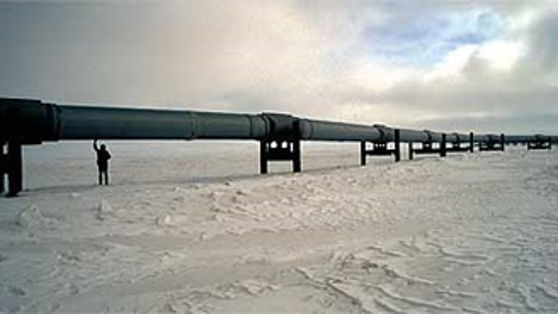 A BP worker inspects a segment of pipeline in Prudhoe Bay in Alaska, North America's largest oil field.