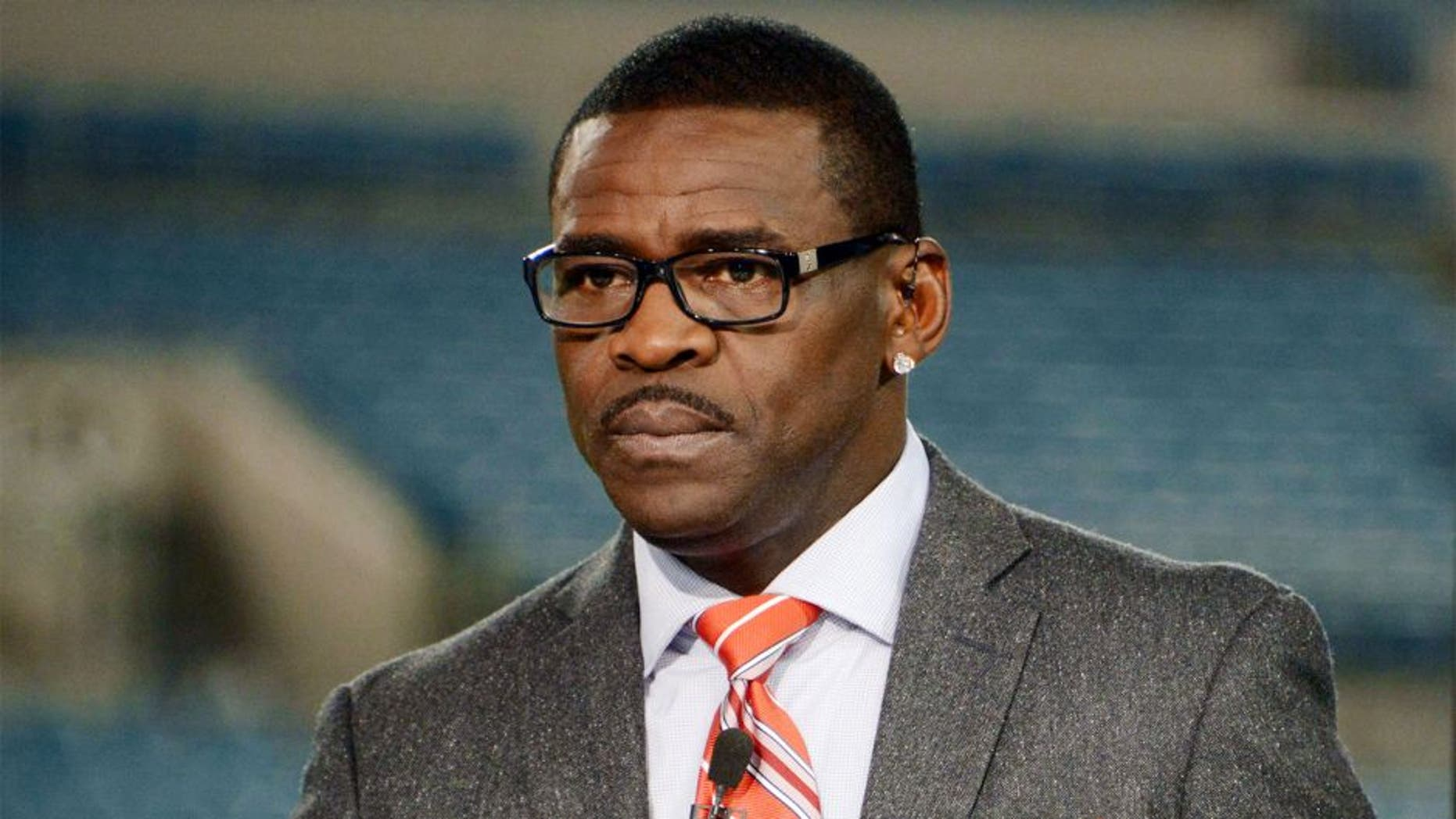 Dec 5, 2013; Jacksonville, FL, USA; Michael Irvin on the NFL Network set before the game against the Houston Texans and the Jacksonville Jaguars at EverBank Field. Mandatory Credit: Kirby Lee-USA TODAY Sports