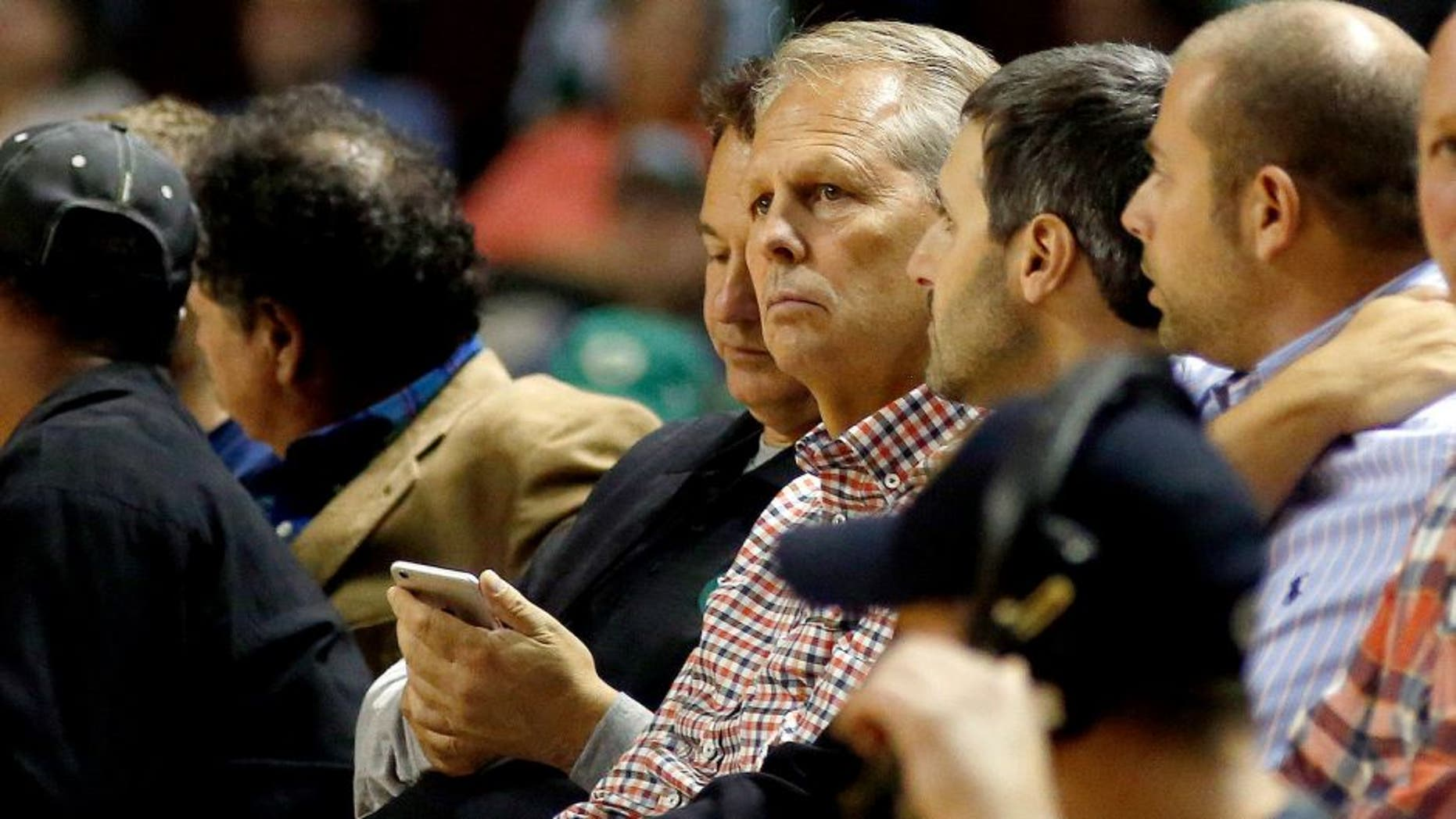 PORTLAND, ME - OCTOBER 15: Danny Ainge, general manager of the Boston Celtics, sits on the sidelines during a pre-season NBA basketball game at the Cross Insurance Arena, Wednesday, October 15, 2014. (Photo by Gabe Souza/Portland Press Herald via Getty Images)