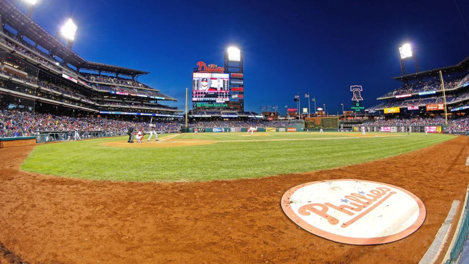PHILADELPHIA, PA - APRIL 16: (EDITORS NOTE: This image was taken with a fisheye lens) A general view of Citizens Bank Park from field level during the game between the Atlanta Braves and the Philadelphia Phillies on April 16, 2014 in Philadelphia, Pennsylvania. All uniformed team members are wearing jersey number 42 in honor of Jackie Robinson Day. The Braves won 1-0. (Photo by Brian Garfinkel/Getty Images)