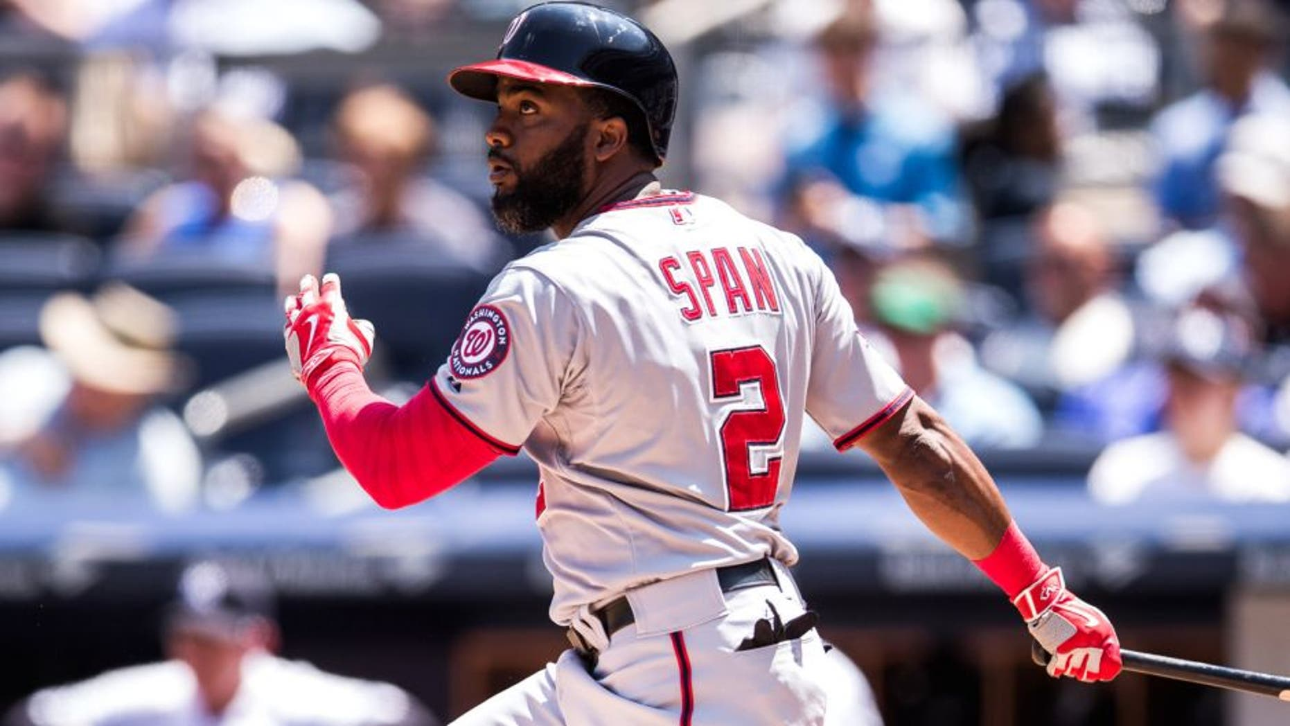NEW YORK, NY - JUNE 10: Denard Span #2 of the Washington Nationals bats during the game against the New York Yankees at Yankee Stadium on June 10, 2015 in the Bronx borough of New York City. (Photo by Rob Tringali/SportsChrome/Getty Images)
