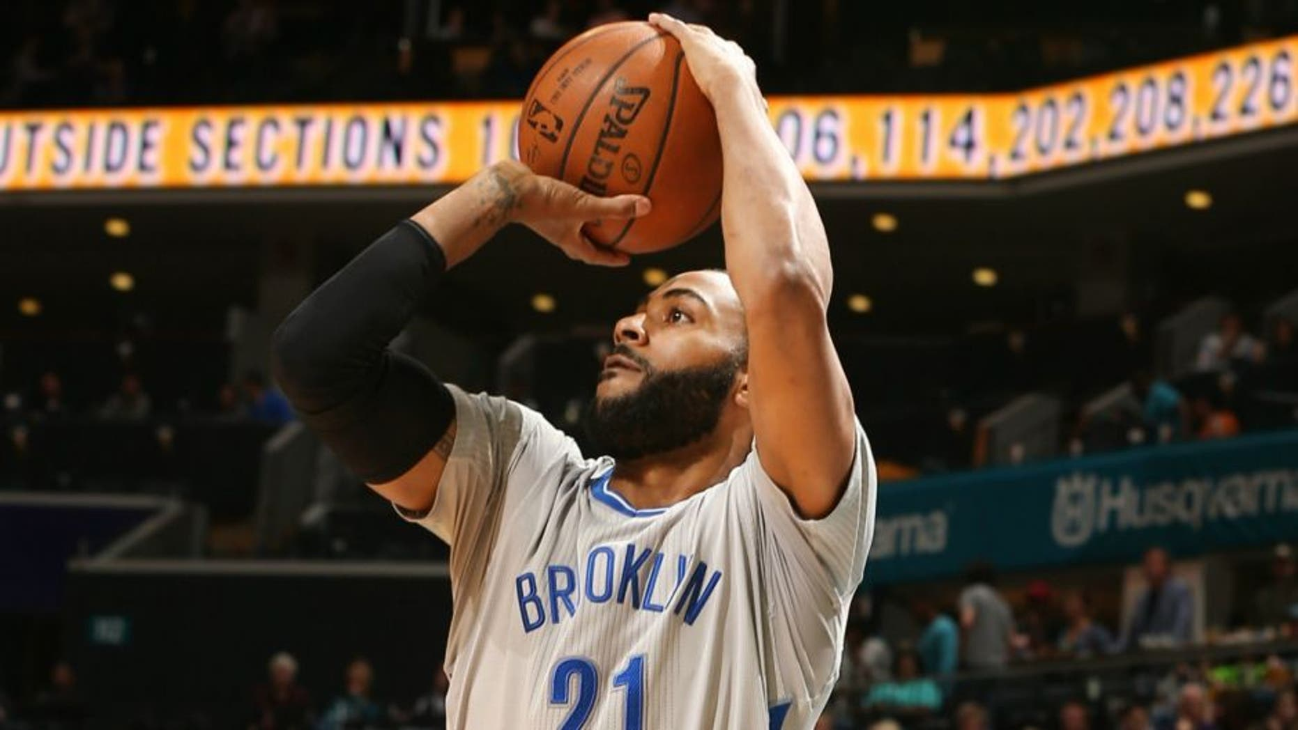 CHARLOTTE, NC - APRIL 8: Wayne Ellington #21 of the Brooklyn Nets shoots against the Charlotte Hornets during the game on April 8, 2016 at Time Warner Cable Arena in Charlotte, North Carolina. NOTE TO USER: User expressly acknowledges and agrees that, by downloading and or using this Photograph, user is consenting to the terms and conditions of the Getty Images License Agreement. Mandatory Copyright Notice: Copyright 2016 NBAE (Photo by Kent Smith/NBAE via Getty Images)