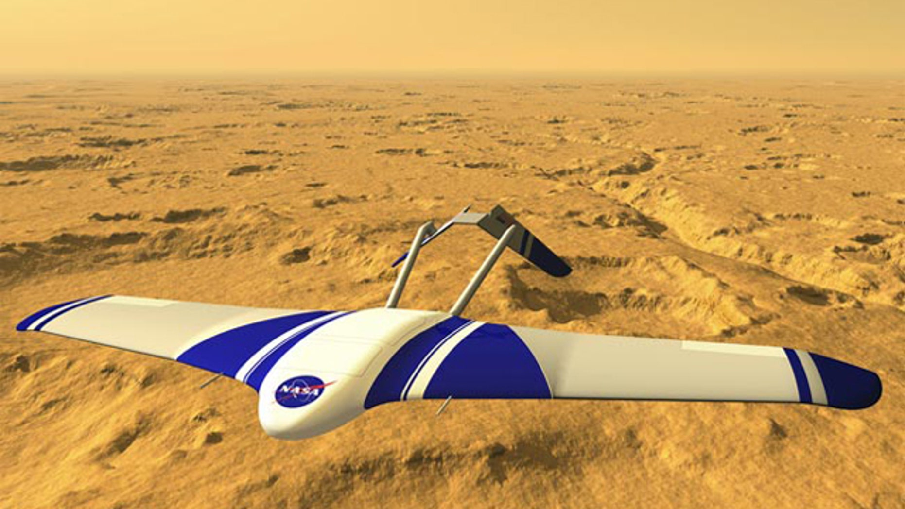 Artist's concept of the ARES airplane flying over the surface of Mars.