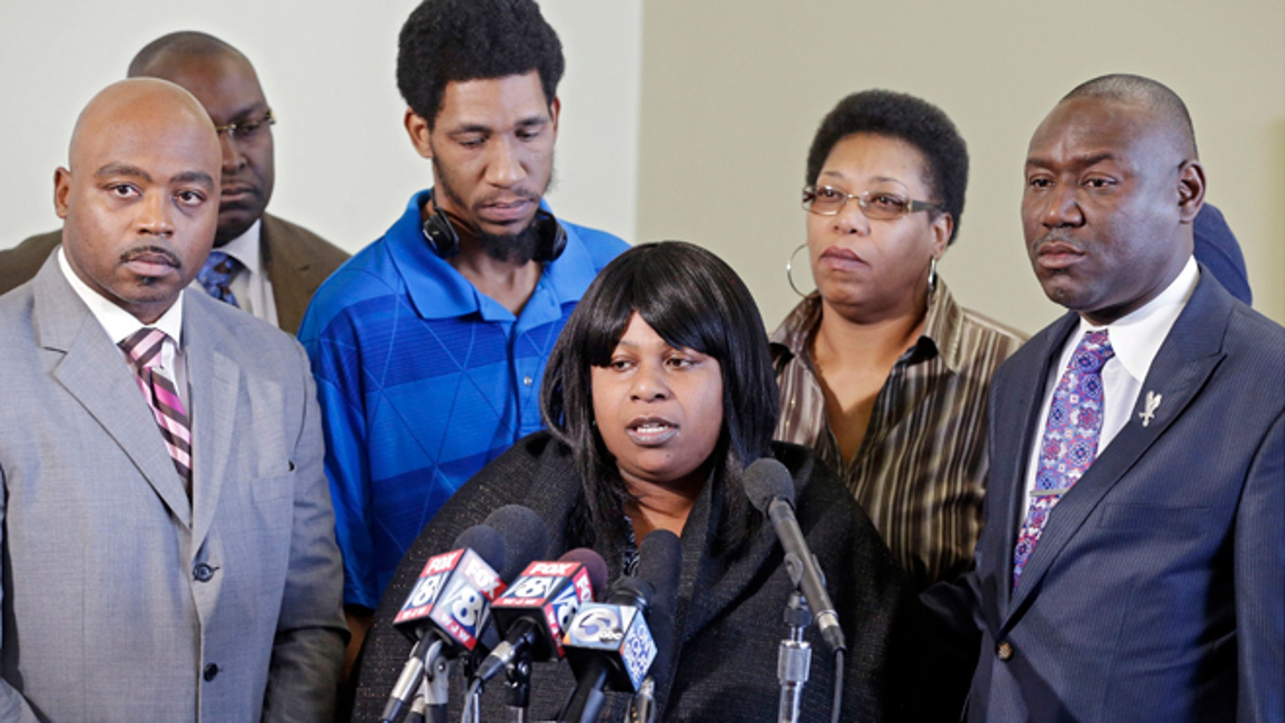 Jan. 6, 2015: Samaria Rice, center, speaks about the investigation into the death of her son Tamir Rice, at a news conference with attorneys Walter Madison, left, and Benjamin Crump in Cleveland.