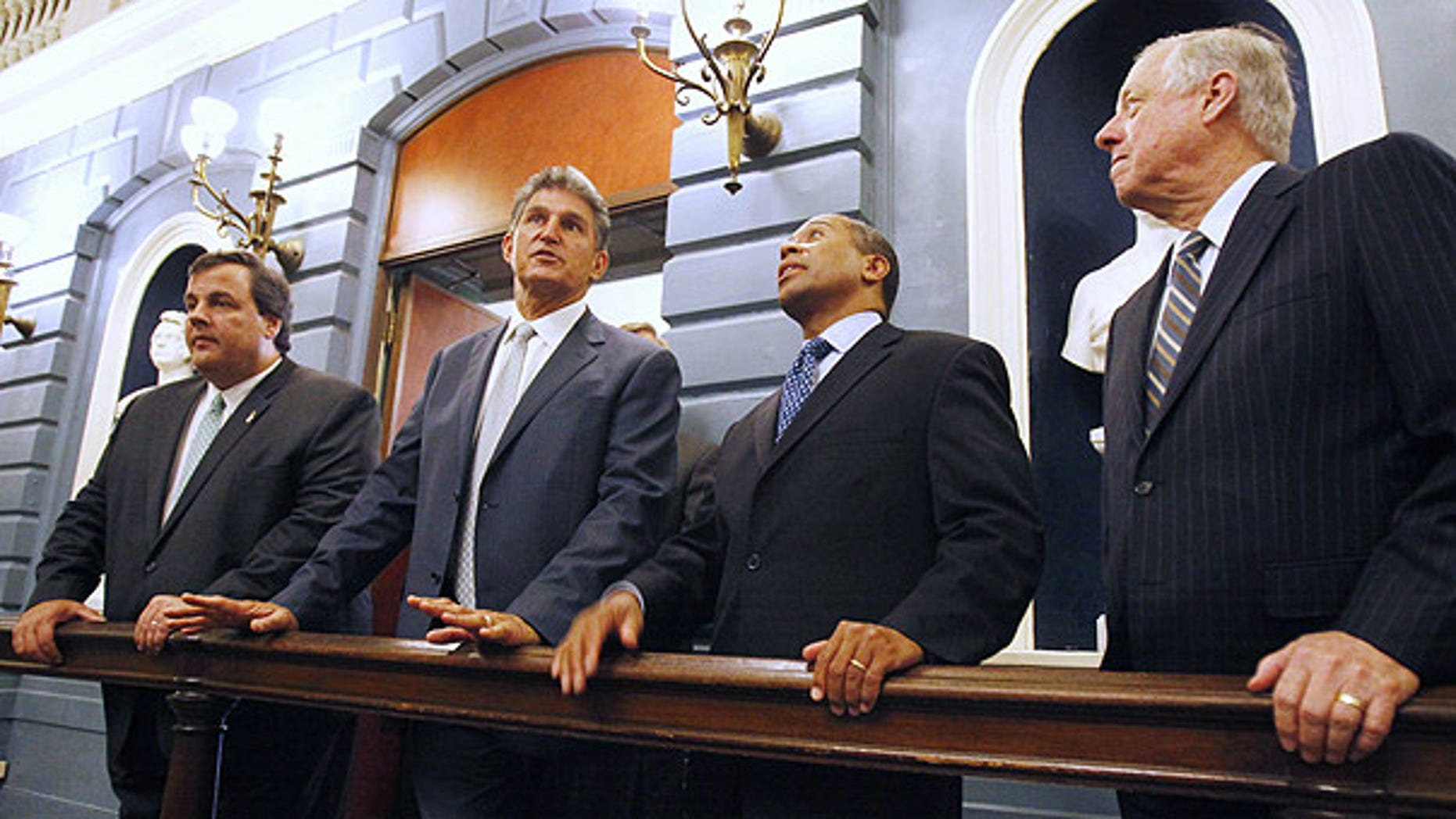 July 9: From left, New Jersey Gov. Chris Christie, West Virginia Gov. Joe Manchin, Massachusetts Gov. Deval Patrick, and Tennessee Gov. Phil Bredesen in Boston.