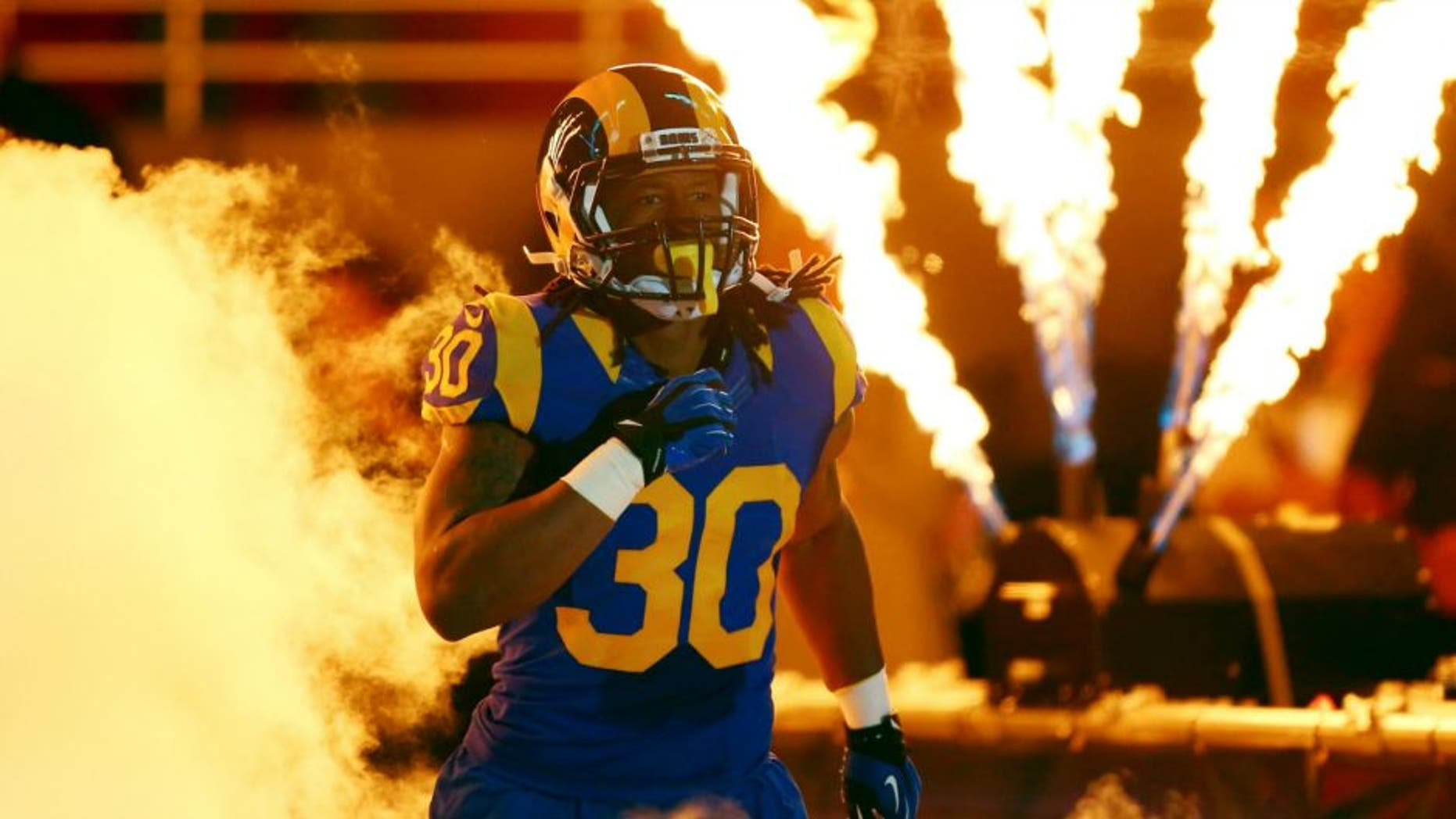 ST. LOUIS, MO - NOVEMBER 1: Todd Gurley #30 of the St. Louis Rams takes to the field during introductions before a game against the San Francisco 49ers at the Edward Jones Dome on November 1, 2015 in St. Louis, Missouri. (Photo by Dilip Vishwanat/Getty Images)