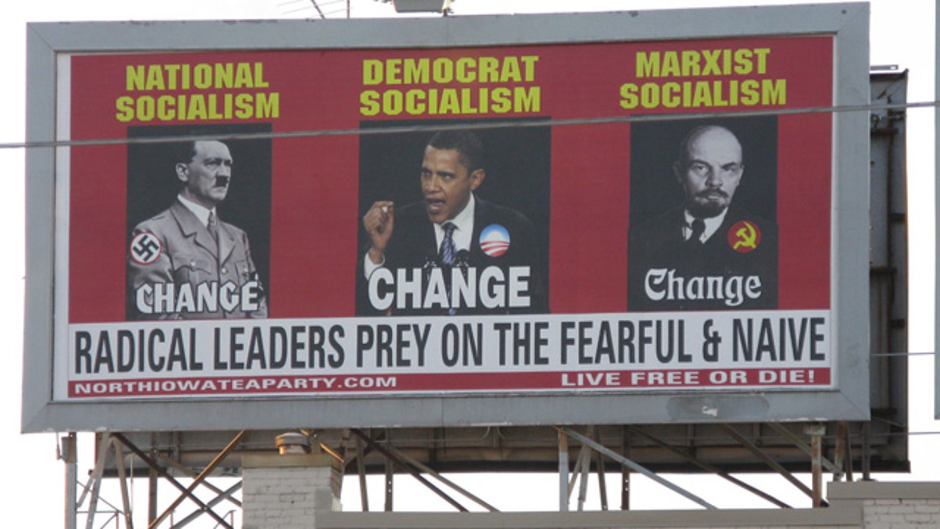 July 13: A billboard ordered and paid for by the North Iowa Tea Party shows President Obama, Adolf Hitler, left, and Vladimir Lenin, on South Federal Avenue in Mason City, Iowa.