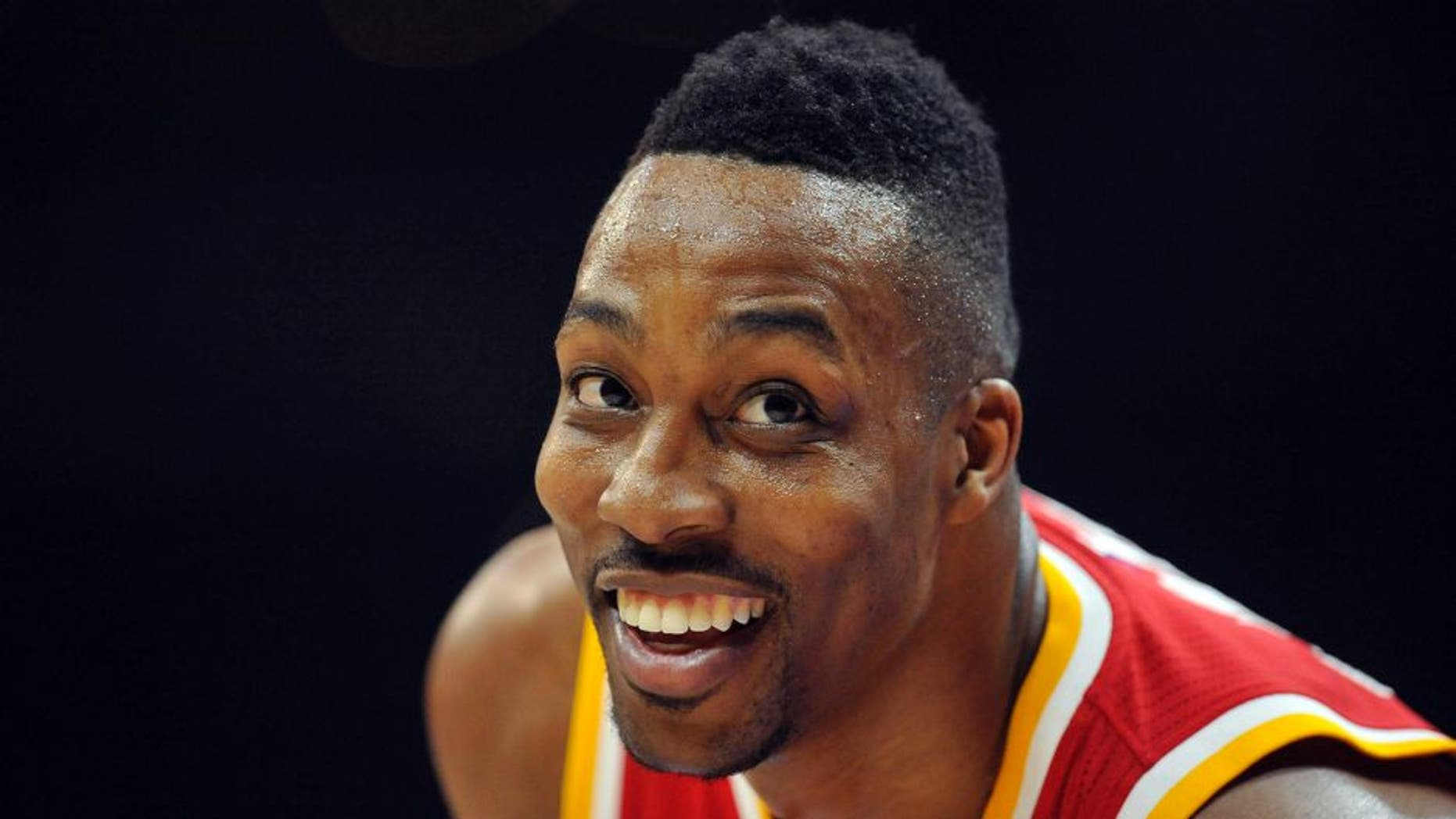 May 8, 2015; Los Angeles, CA, USA; Houston Rockets center Dwight Howard (12) against the Los Angeles Clippers during the second half in game three of the second round of the NBA Playoffs. at Staples Center. Mandatory Credit: Gary A. Vasquez-USA TODAY Sports