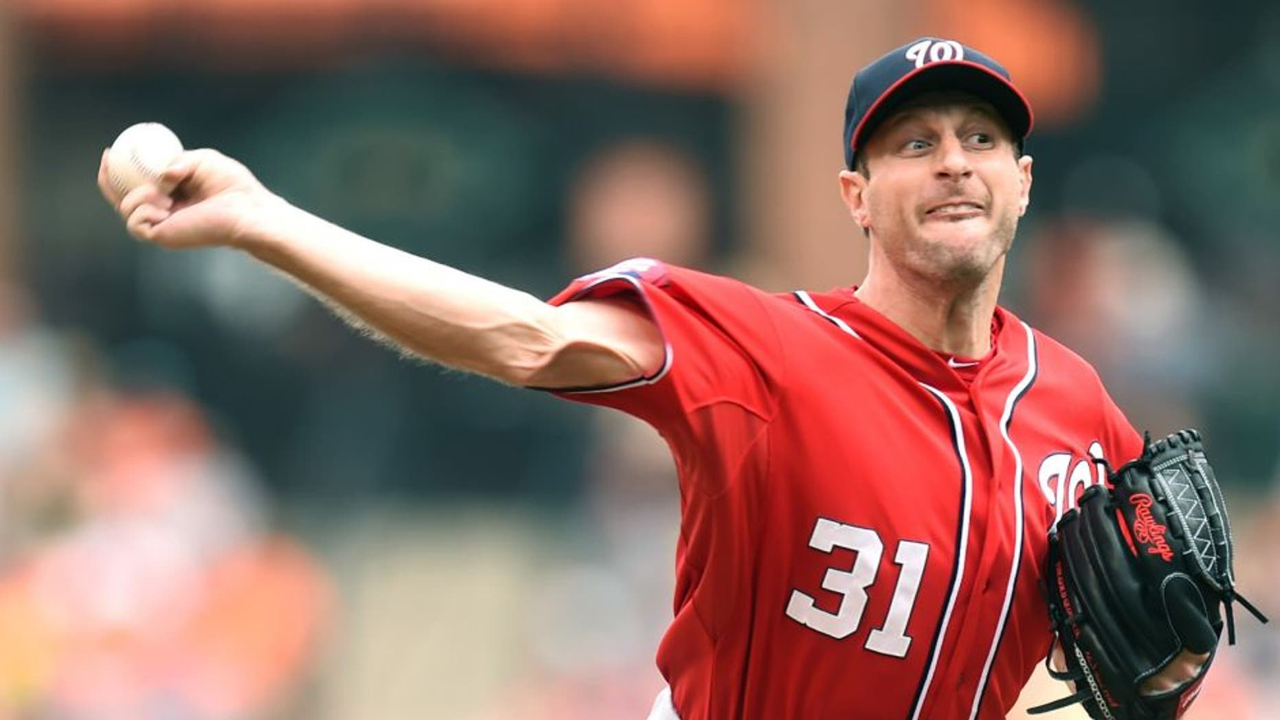 BALTIMORE, MD - JULY 12: Max Scherzer #31 of the Washington Nationals pitches in the first inning during a baseball game against the Baltimore Orioles at Oriole Park at Camden Yards on July 12, 2015 in Baltimore, Maryland. (Photo by Mitchell Layton/Getty Images)
