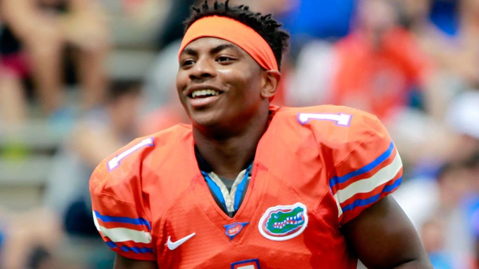 Apr 11, 2015; Gainesville, FL, USA; Florida Gators defensive back Vernon Hargreaves III (1) during the first half at the Orange and Blue Debut at Ben Hill Griffin Stadium. Mandatory Credit: Kim Klement-USA TODAY Sports