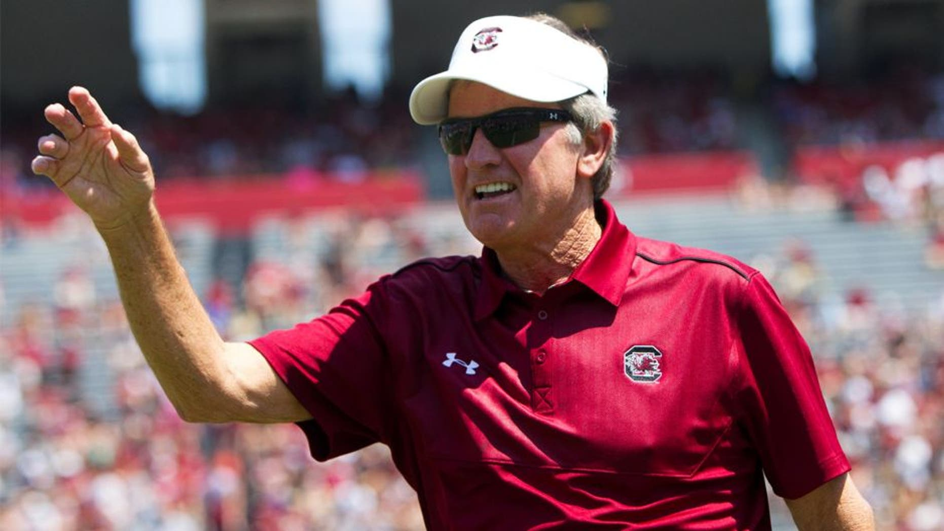 Apr 12, 2014; Columbia, SC, USA; South Carolina Gamecocks head coach Steve Spurrier during half time of the South Carolina spring game at Williams-Brice Stadium. Mandatory Credit: Joshua S. Kelly-USA TODAY Sports