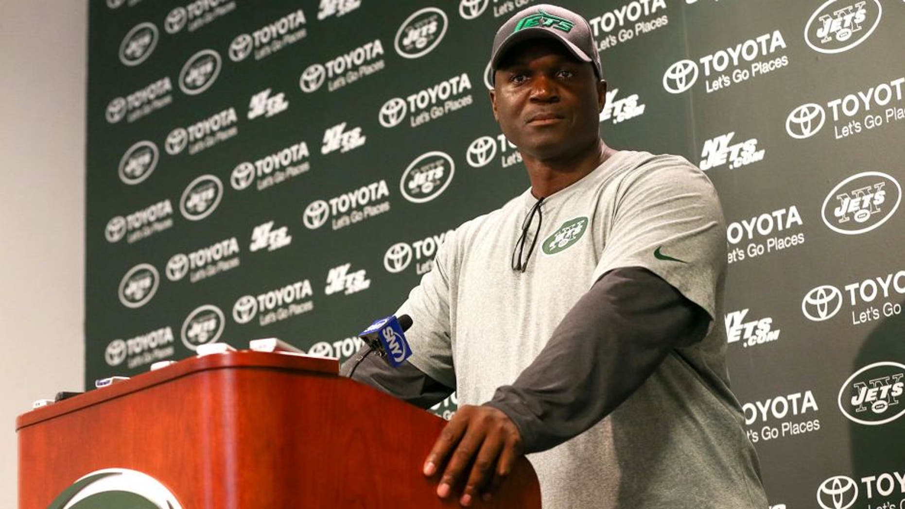 May 27, 2015; East Rutherford, NJ, USA; New York Jets head coach Todd Bowles speaks to the media after the organized team activities at Atlantic Health Jets Training Center. Mandatory Credit: Ed Mulholland-USA TODAY Sports