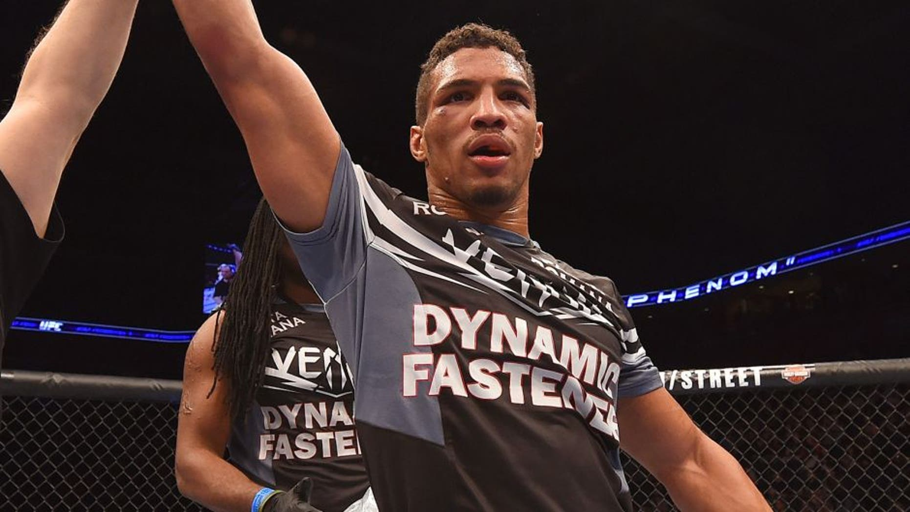 BROOMFIELD, CO - FEBRUARY 14: Kevin Lee celebrates after defeating Michel Prazeres by unanimous decision in their lightweight fight during the UFC Fight Night event inside 1stBank Center on February 14, 2015 in Broomfield, Colorado. (Photo by Josh Hedges/Zuffa LLC/Zuffa LLC via Getty Images)