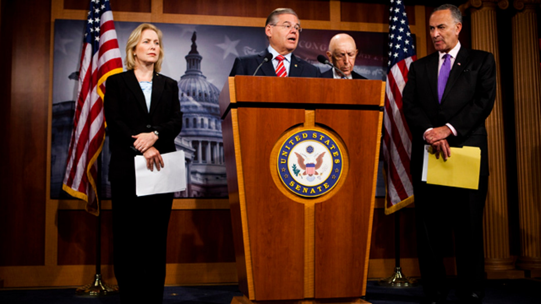 July 14: Senators from New York and New Jersey take part in a news conference to discuss asking the State Department to investigate whether oil giant BP played a role in winning release of the Lockerbie bomber.