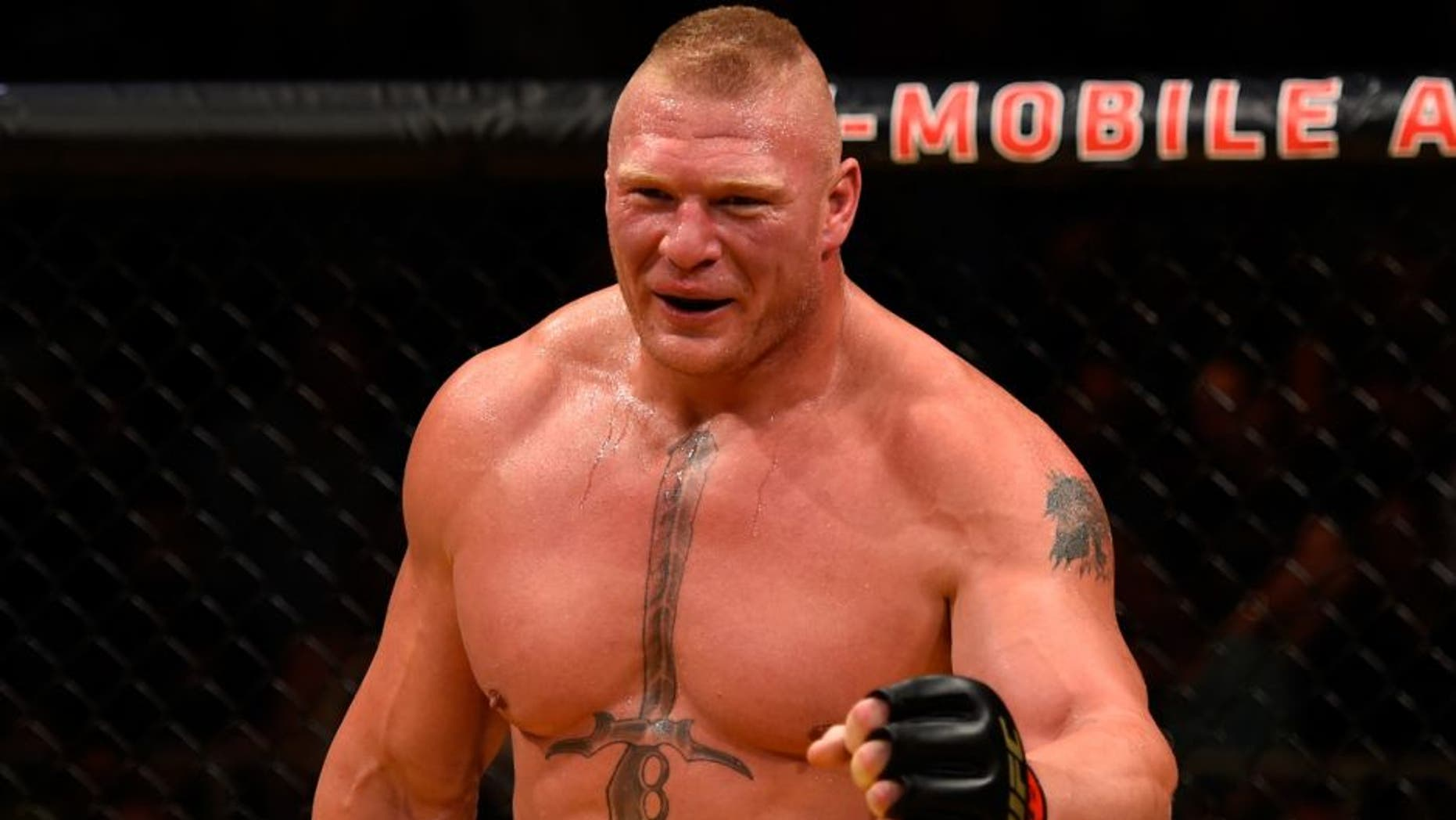 LAS VEGAS, NV - JULY 09: Brock Lesnar prepares for round two against Mark Hunt of New Zealand in their heavyweight bout during the UFC 200 event on July 9, 2016 at T-Mobile Arena in Las Vegas, Nevada. (Photo by Josh Hedges/Zuffa LLC/Zuffa LLC via Getty Images)