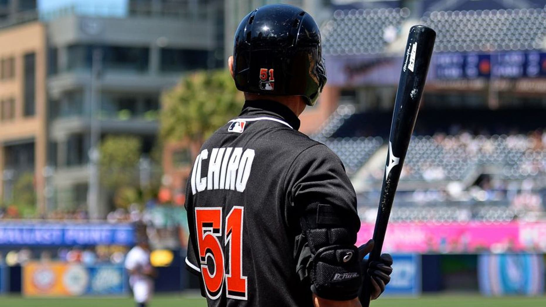 Jun 15, 2016; San Diego, CA, USA; Miami Marlins center fielder Ichiro Suzuki (51) on deck during the seventh inning against the San Diego Padres at Petco Park. Mandatory Credit: Jake Roth-USA TODAY Sports