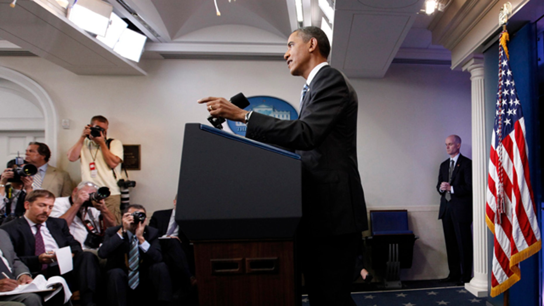 July 15: President Barack Obama talks about the ongoing budget negotiations during a news conference in the briefing room of the White House in Washington.