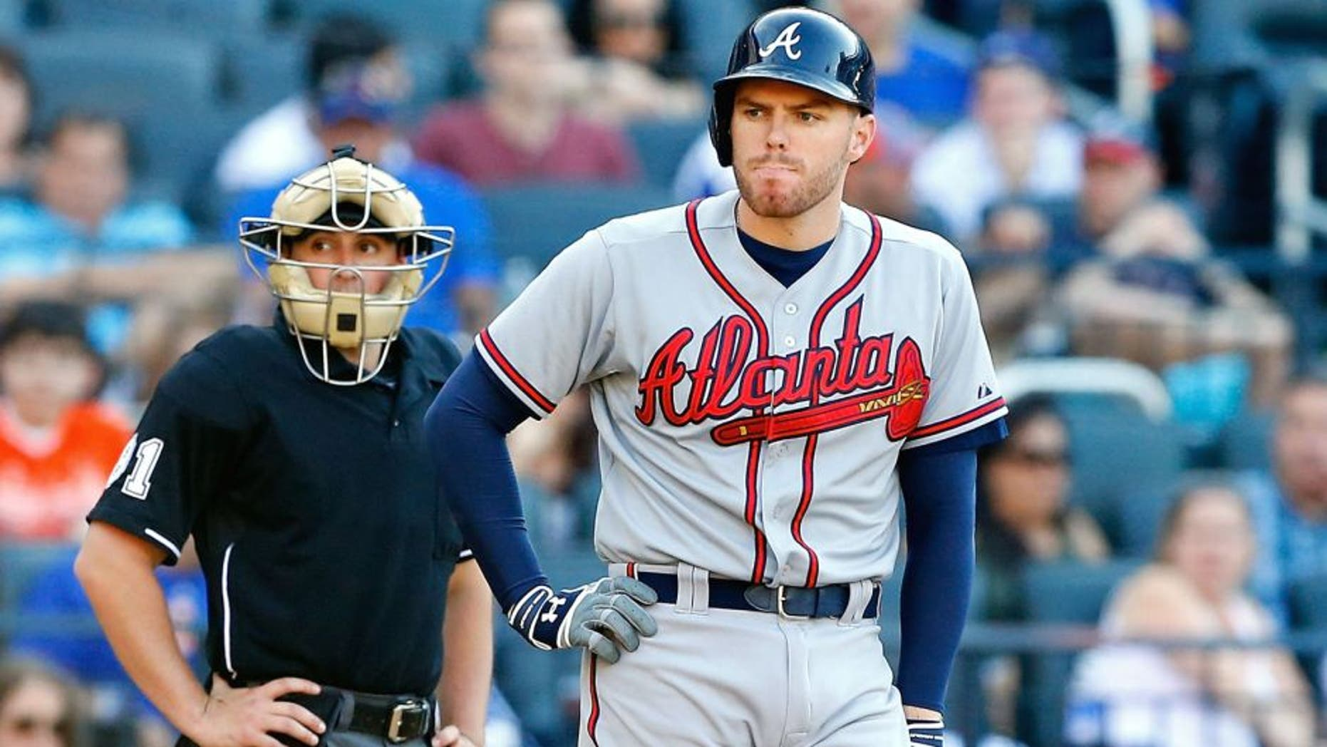 NEW YORK, NY - JUNE 13: Freddie Freeman #5 of the Atlanta Braves in action against the New York Mets at Citi Field on June 13, 2015 in the Flushing neighborhood of the Queens borough of New York City. The Braves defeated the Mets 5-3 in eleven innings. (Photo by Jim McIsaac/Getty Images)