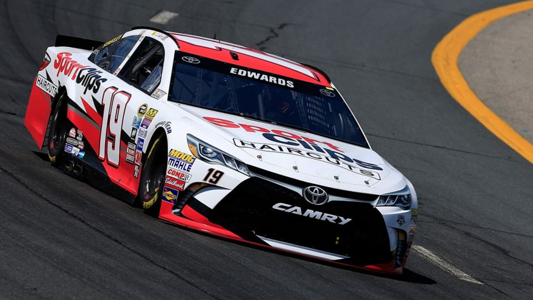 LOUDON, NH - JULY 15: Carl Edwards, driver of the #19 Sport Clips Toyota, practices for the NASCAR Sprint Cup Series New Hampshire 301 at New Hampshire Motor Speedway on July 16, 2016 in Loudon, New Hampshire. (Photo by Chris Trotman/Getty Images)