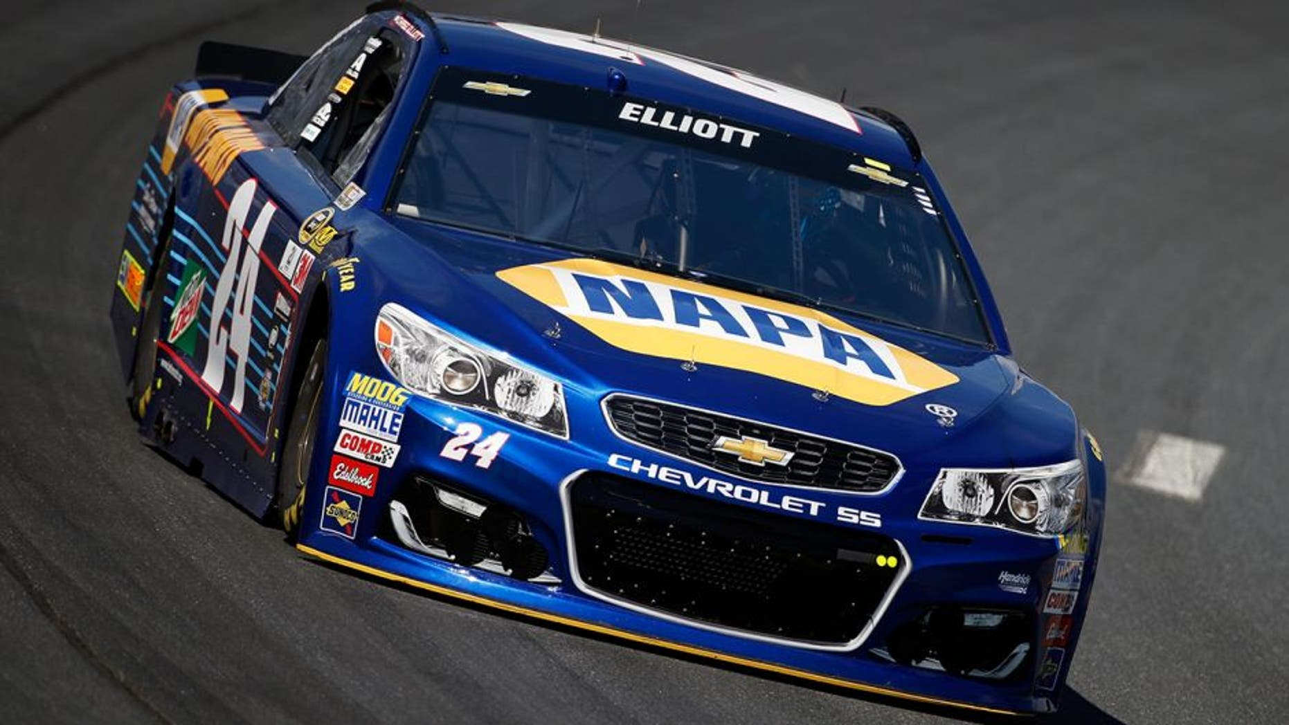 LOUDON, NH - JULY 15: Chase Elliott, driver of the #24 NAPA Auto Parts Chevrolet, practices for the NASCAR Sprint Cup Series New Hampshire 301 at New Hampshire Motor Speedway on July 16, 2016 in Loudon, New Hampshire. (Photo by Todd Warshaw/NASCAR via Getty Images)