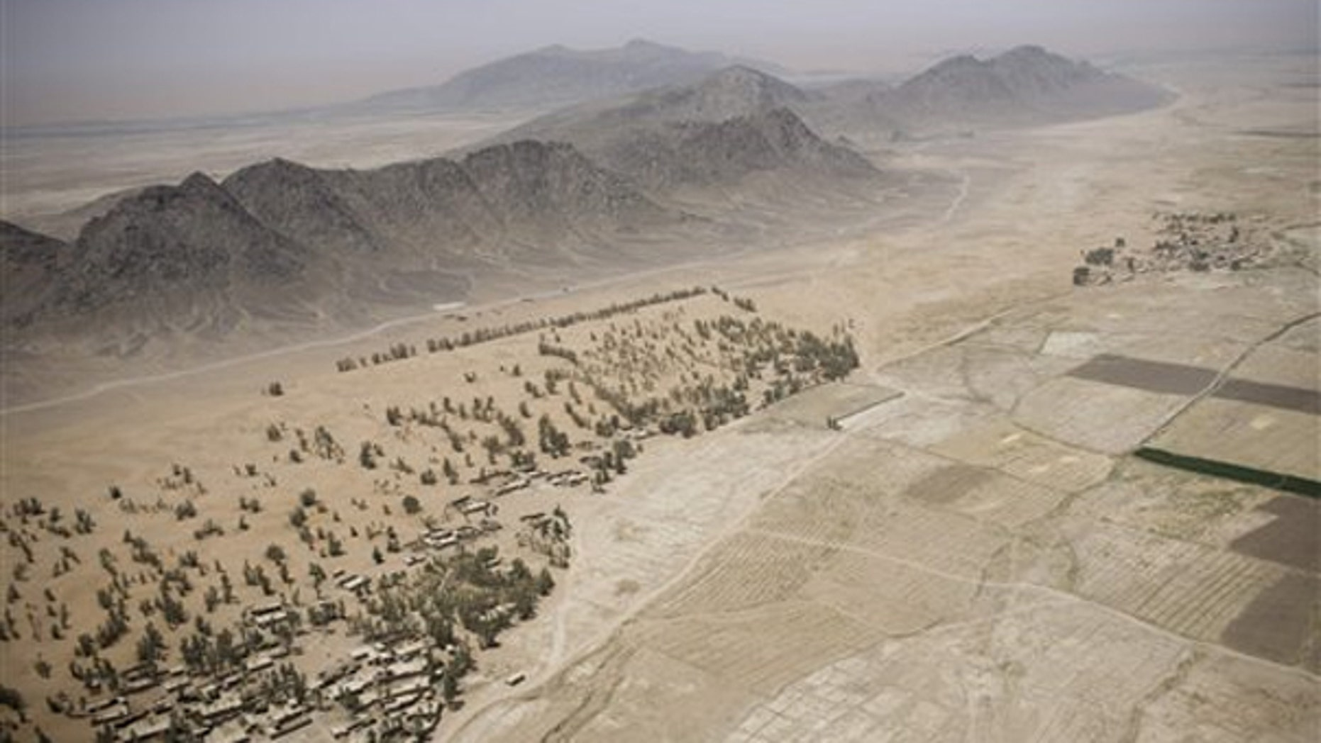 July 16: An aerial view from a U.S. helicopter in Kandahar, Afghanistan.
