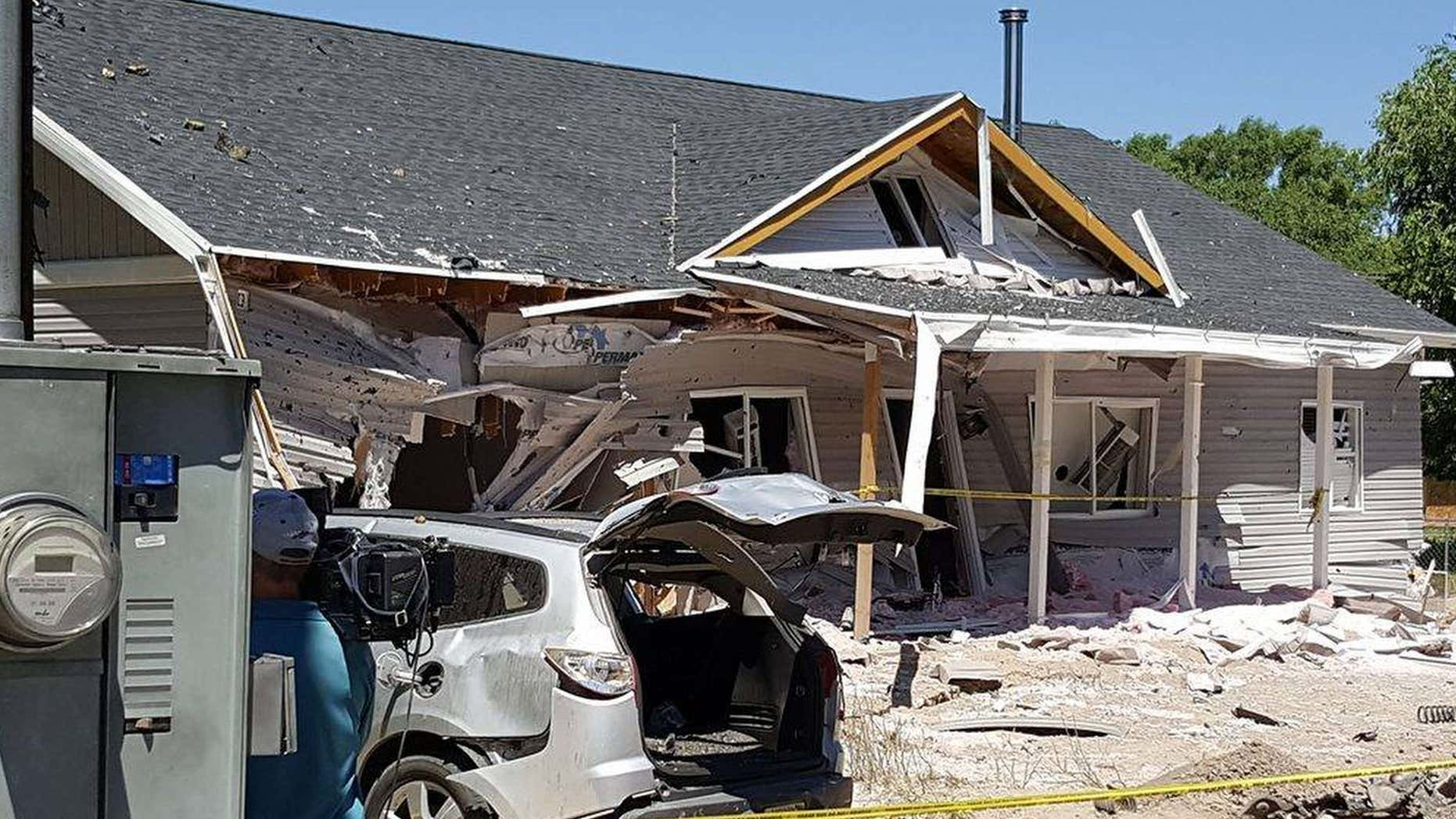This July 14, 2016 photo provided by Dennis Sanders shows a house in Panaca, Nev. after it was destroyed by explosives.