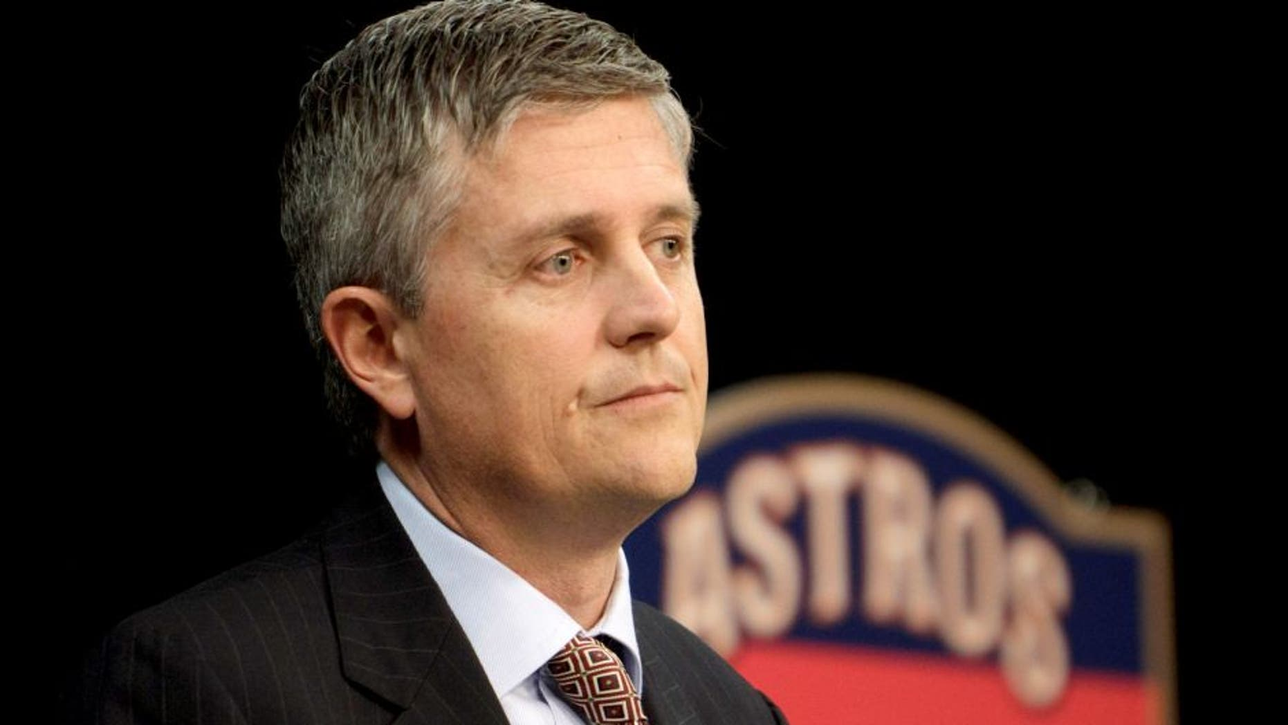 HOUSTON, TX - DECEMBER 08: Jeff Luhnow answers questions from the media as the newly-hired Houston Astros general manager during a press conference at Minute Maid Park on December 8, 2011 in Houston, Texas. Luhnow was vice president with the St. Louis Cardinals before joining the Astros. (Photo by Bob Levey/Getty Images)