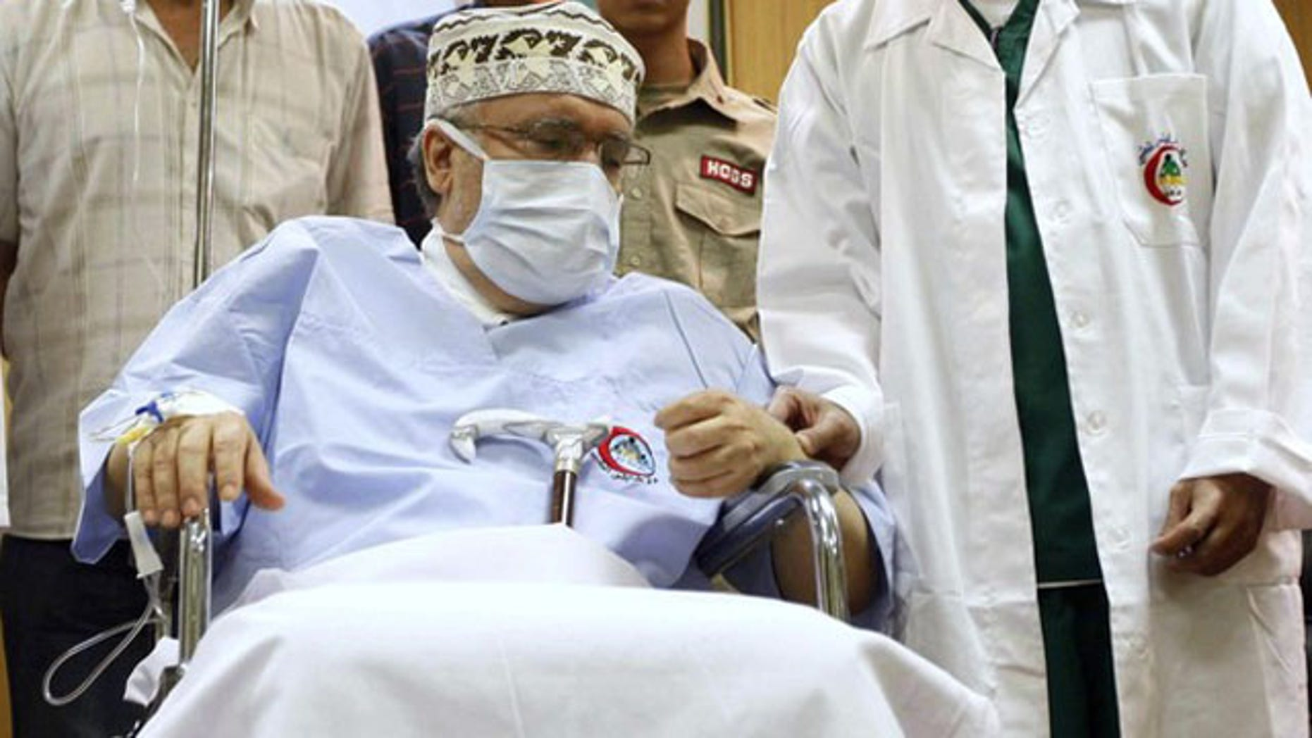 Convicted Lockerbie bomber Abdel Basset al-Megrahi is seen in his room at a hospital in Tripoli in this September 9, 2009 file photo (Reuters).