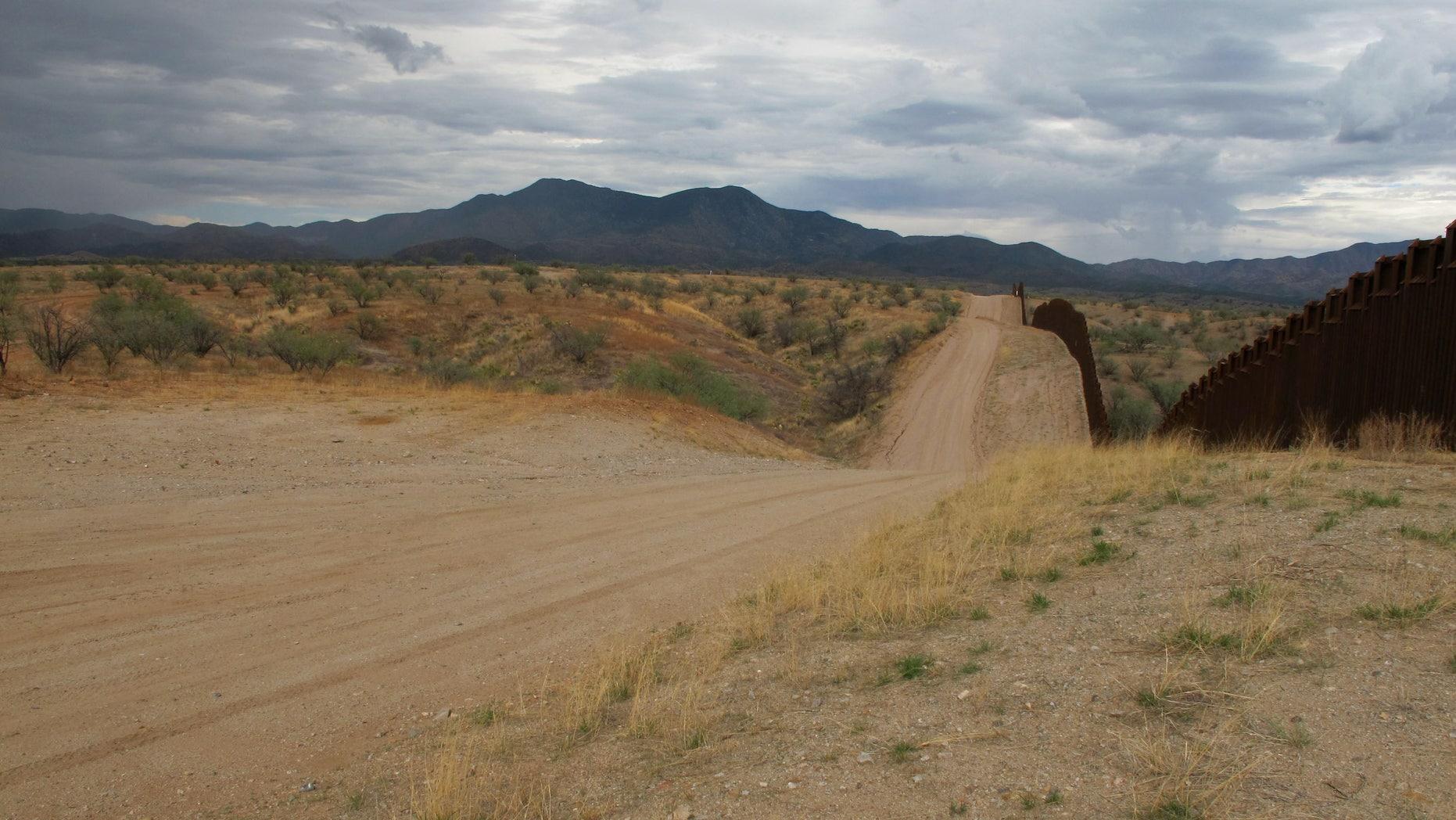 The U.S.-Mexico border fence in Santa Cruz County, AZ.
