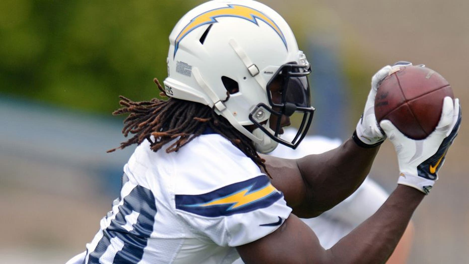 May 26, 2015; San Diego, CA, USA; San Diego Chargers running back Melvin Gordon catches a pitch during organized team activities at Charger Park. Mandatory Credit: Jake Roth-USA TODAY Sports