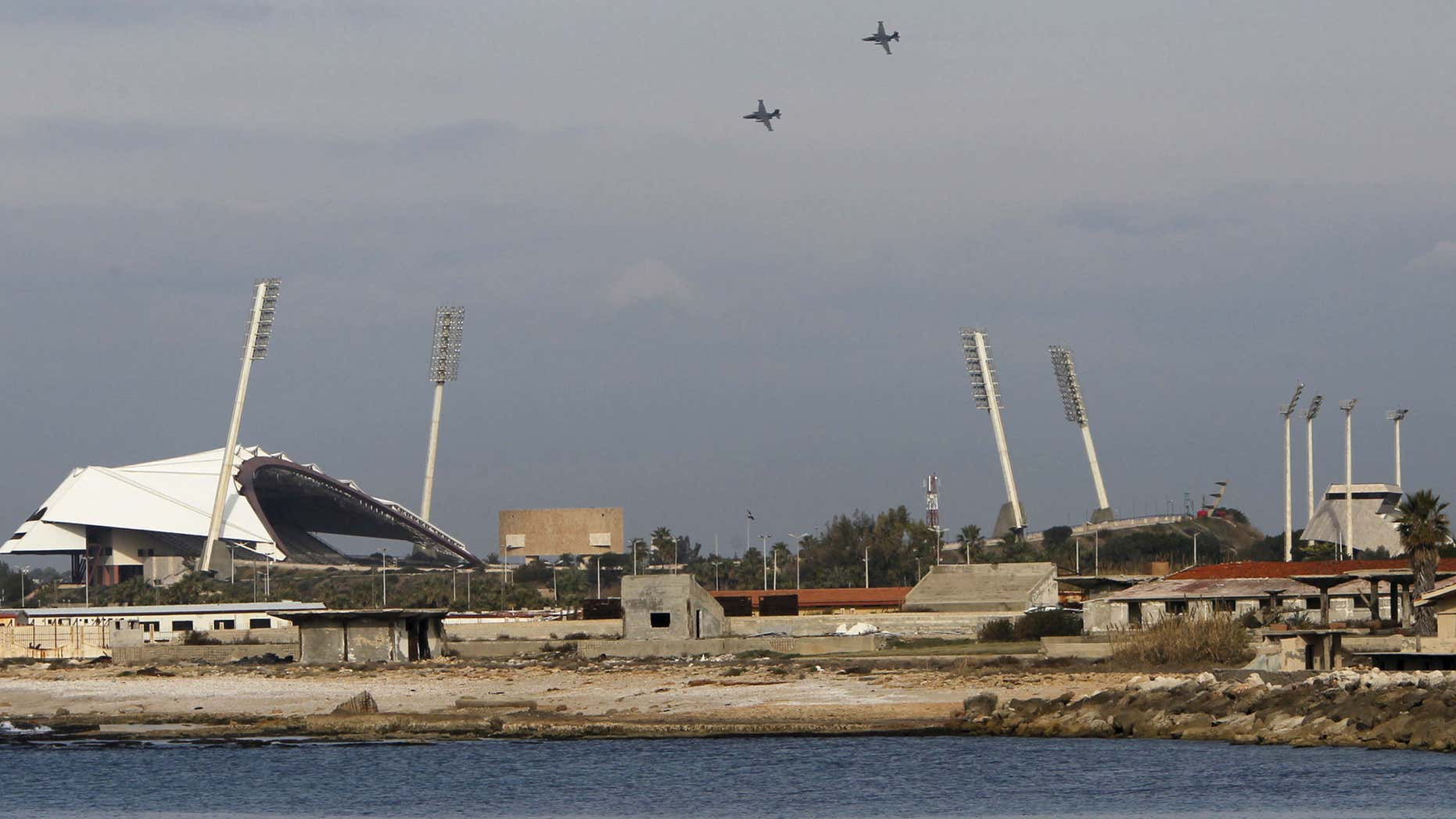 Jan. 28, 2016: Russian warplanes fly in the sky over the Mediterranean coastal city of Latakia