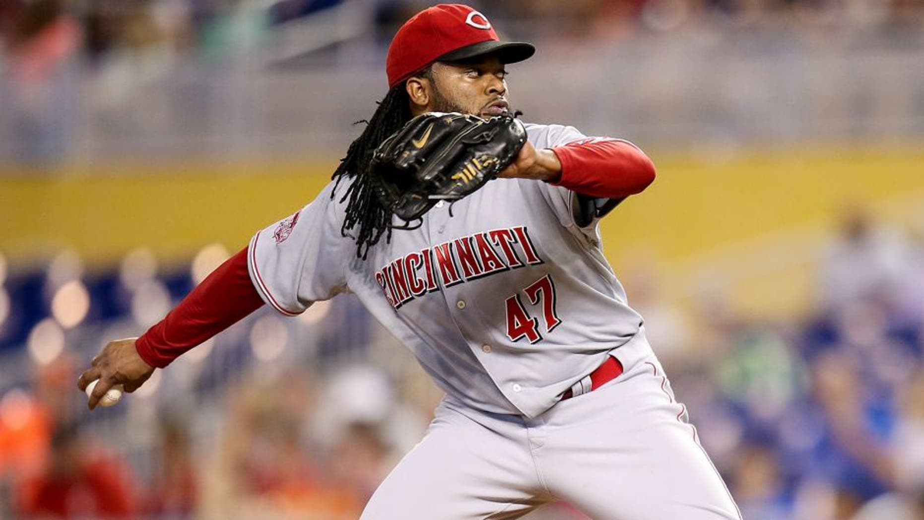 MIAMI, FL - JULY 12: Johnny Cueto #47 of the Cincinnati Reds pitches during the first inning of the game against the Miami Marlins at Marlins Park on July 12, 2015 in Miami, Florida. (Photo by Rob Foldy/Getty Images)