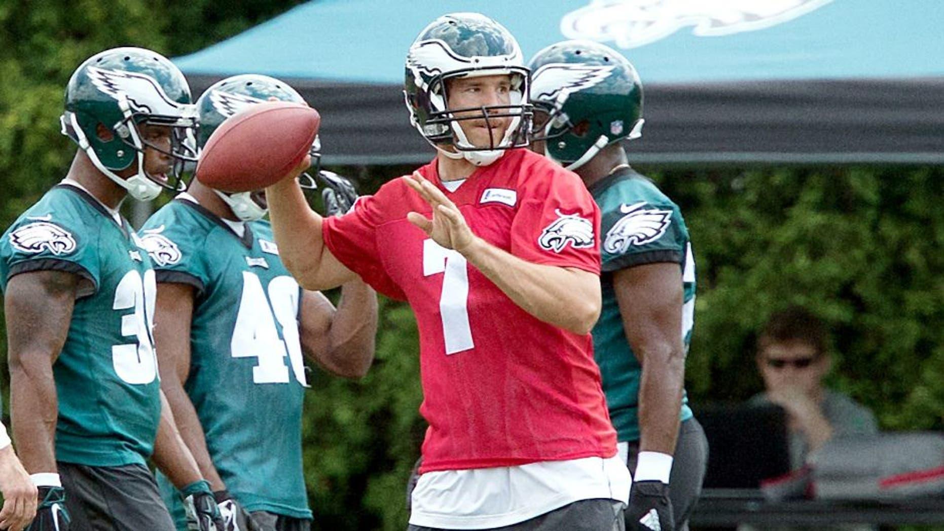 Jun 17, 2015; Philadelphia, PA, USA; Philadelphia Eagles quarterback Sam Bradford (7) throws during minicamp at The NovaCare Complex. Mandatory Credit: Bill Streicher-USA TODAY Sports