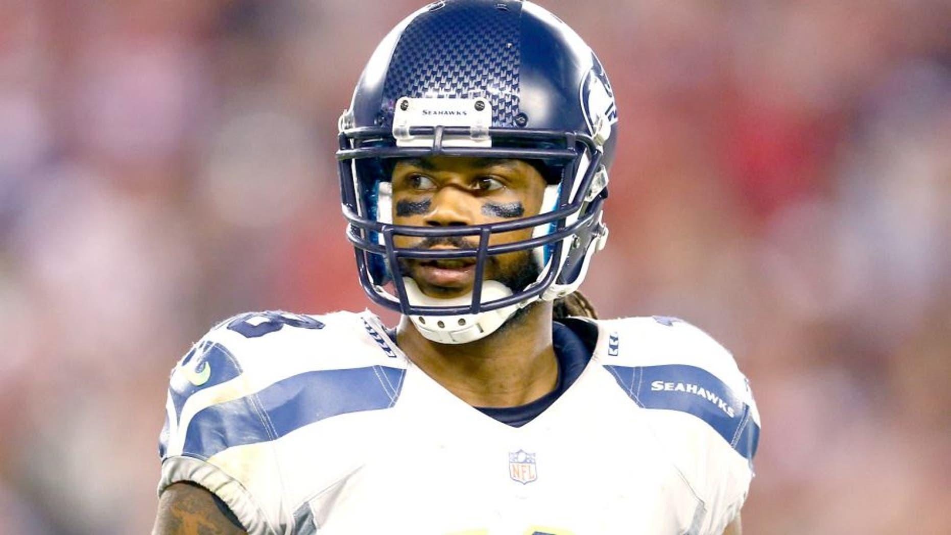 Oct 17, 2013; Phoenix, AZ, USA; Seattle Seahawks wide receiver Sidney Rice (18) against the Arizona Cardinals at University of Phoenix Stadium. Mandatory Credit: Mark J. Rebilas-USA TODAY Sports