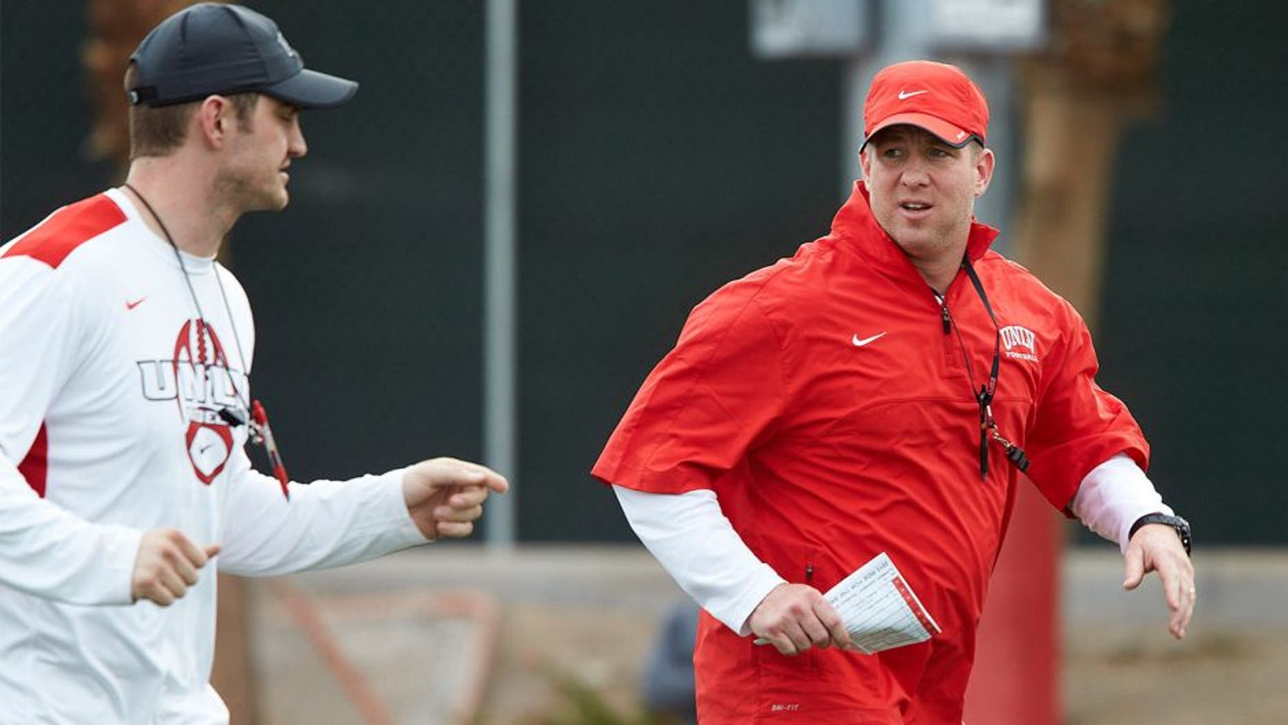 UNLV football assistant coaches during practice at Rebel Park on March 18, 2015. (R. Marsh Starks / UNLV Photo Services)