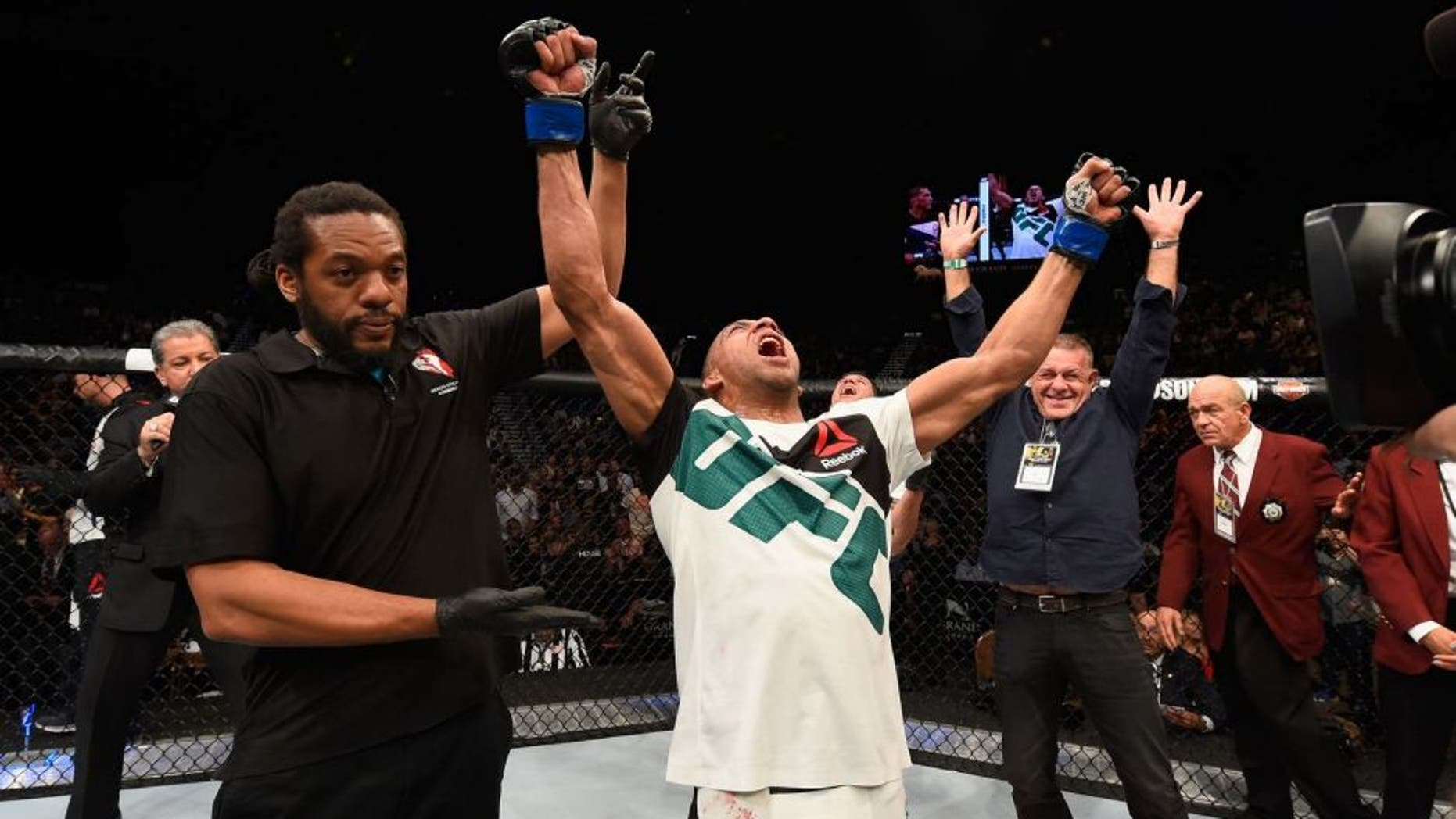 LAS VEGAS, NV - APRIL 23: Edson Barboza celebrates his victory over Anthony Pettis in their lightweight bout during the UFC 197 event inside MGM Grand Garden Arena on April 23, 2016 in Las Vegas, Nevada. (Photo by Josh Hedges/Zuffa LLC/Zuffa LLC via Getty Images)
