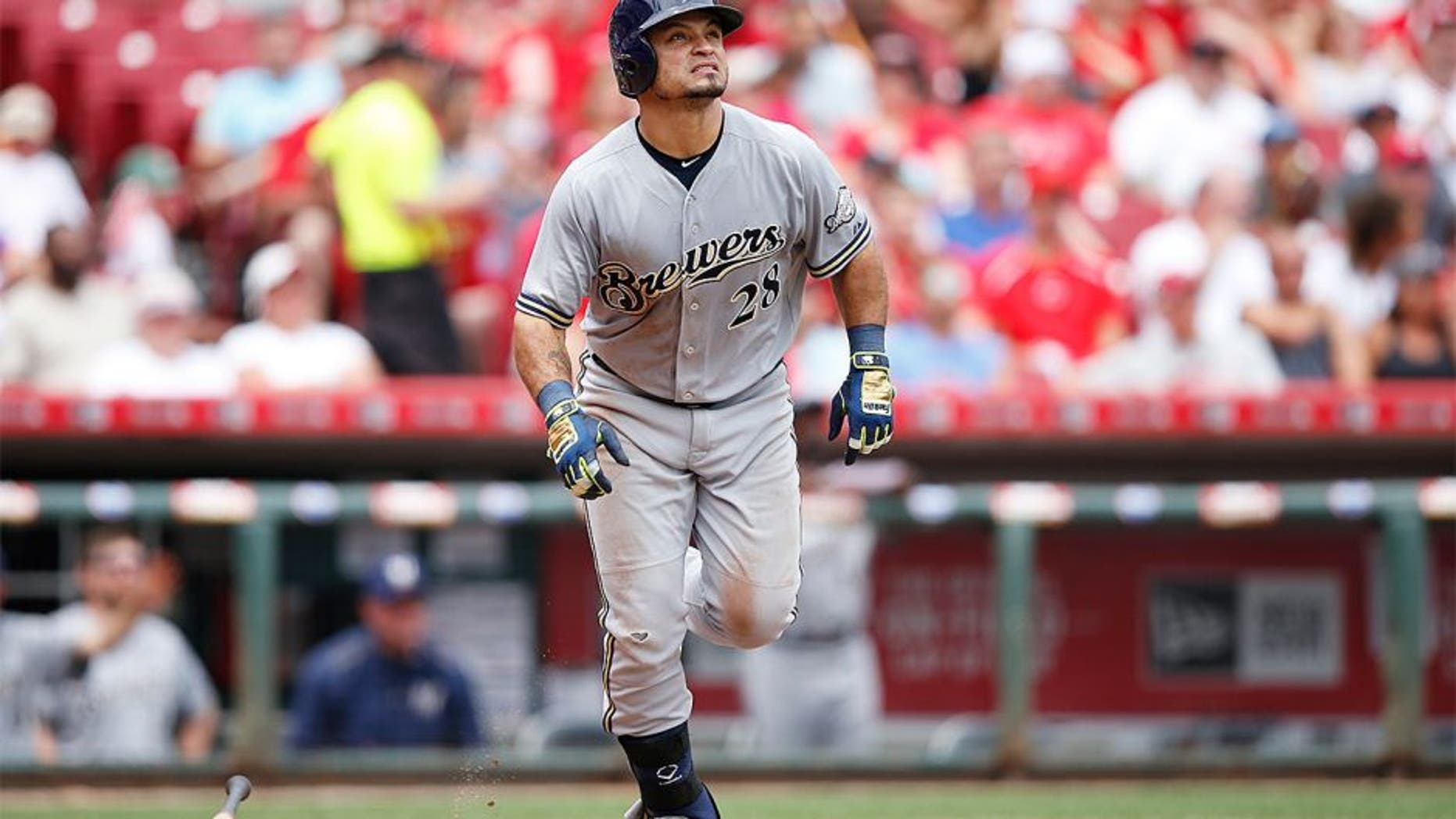 CINCINNATI, OH - JULY 5: Gerardo Parra #28 of the Milwaukee Brewers watches his solo home run in the seventh inning against the Cincinnati Reds at Great American Ball Park on July 5, 2015 in Cincinnati, Ohio. The Brewers defeated the Reds 6-1. (Photo by Joe Robbins/Getty Images)