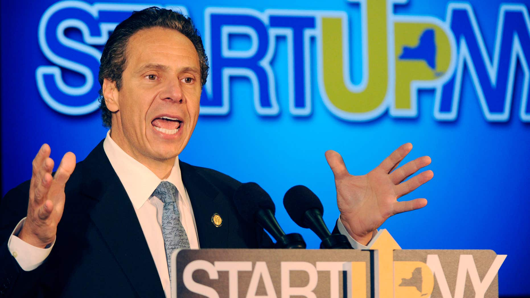 FILE - In this July 28, 2014 file photo, New York Gov. Andrew Cuomo speaks about ongoing economic development in western New York at the University of Buffalo's South campus in Buffalo, N.Y.