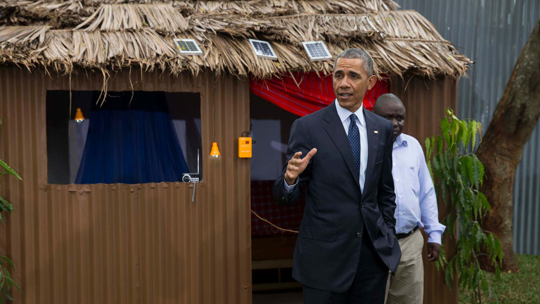 July 25, 2015: President Barack Obama makes remarks during a tour of the Power Africa Innovation Fair.