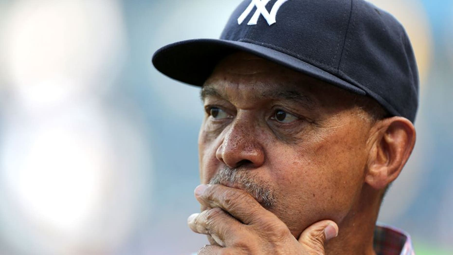 KANSAS CITY, MO - JUNE 7: Reggie Jackson former New York Yankees player and Baseball Hall of Fame inductee watches batting practice prior to a game between the New York Yankees and Kansas City Royals at Kauffman Stadium on June 7, 2014 in Kansas City, Missouri. (Photo by Ed Zurga/Getty Images)