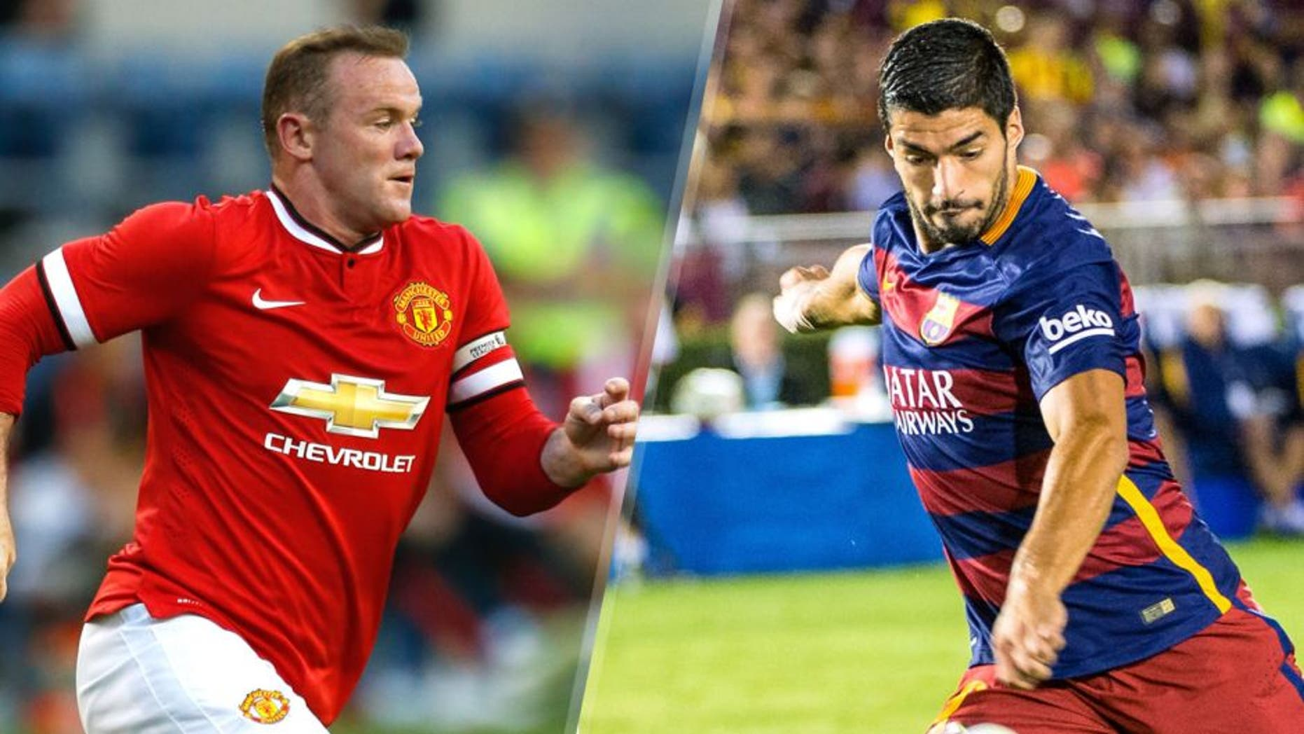 SEATTLE, WA - JULY 17: Wayne Rooney #10 of Manchester United follows the play against against Club America during the International Champions Cup at CenturyLink Field on July 17, 2015 in Seattle, Washington. (Photo by Otto Greule Jr/Getty Images), PASADENA, CA - JULY 21: Luis Suarez #9 of Barcelona takes a shot on goal during the International Champions Cup 2015 match between FC Barcelona and Los Angeles Galaxy at the Rose Bowl on July 21, 2015 in Pasadena, California. Barcelona won the match 2-1 (Photo by Shaun Clark/Getty Images)