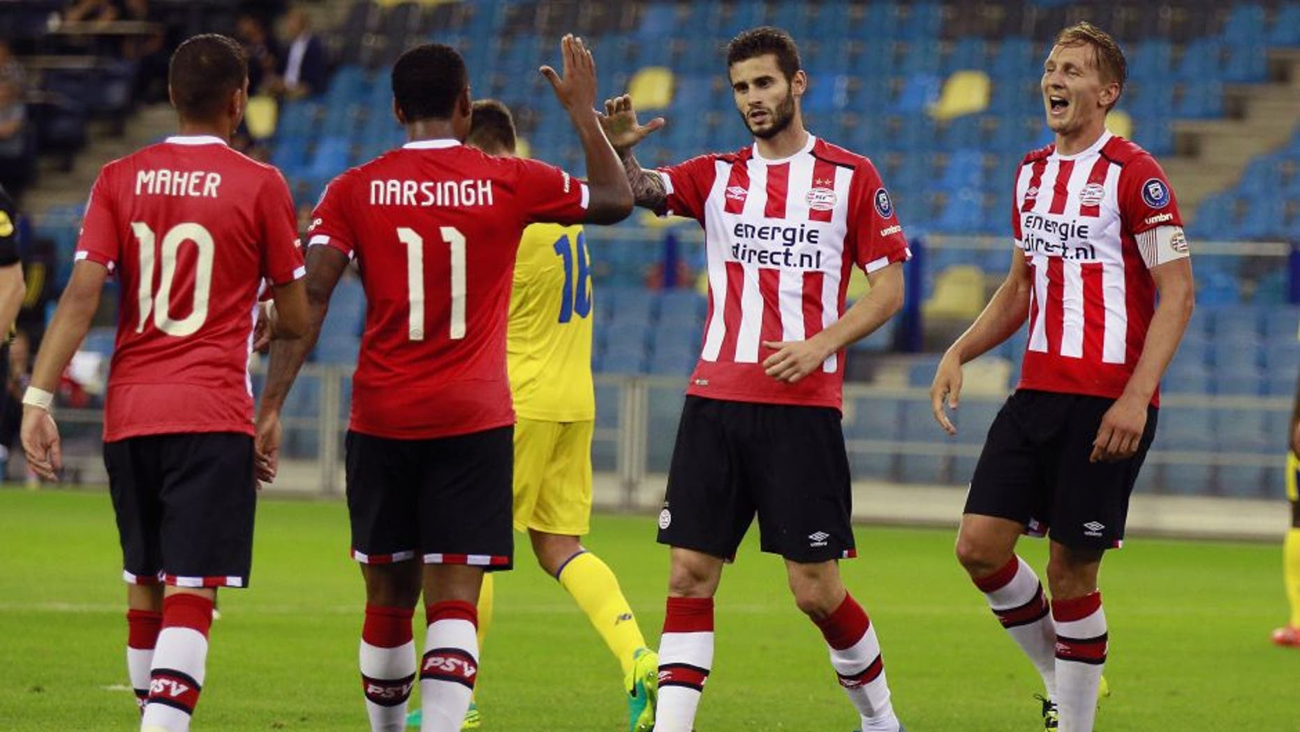 Adam Maher Luciano Narsingh Gaston Pereiro Luuk de Jong during the GelreDome tournament match between PSV Eindhoven and FC Porto on July 21, 2016 at the Gelredome stadium in Arnhem, The Netherlands.(Photo by VI Images via Getty Images)