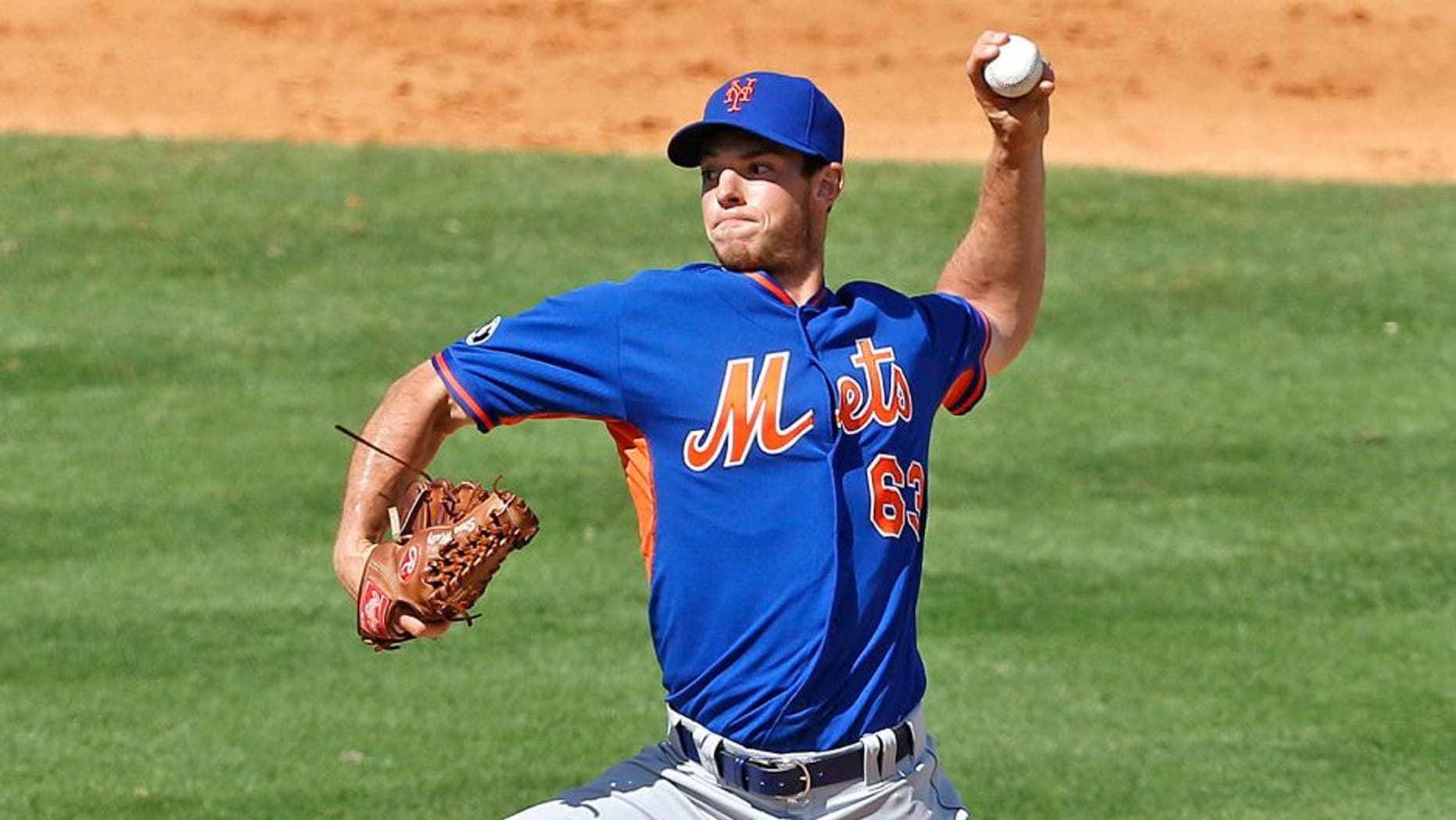 JUPITER, FL - MARCH 2: Steven Matz #63 of the New York Mets throws the ball against the St Louis Cardinals during a spring training game at Roger Dean Stadium on March 2, 2014 in Jupiter, Florida. The Cardinals defeated the Mets 7-1. (Photo by Joel Auerbach/Getty Images)