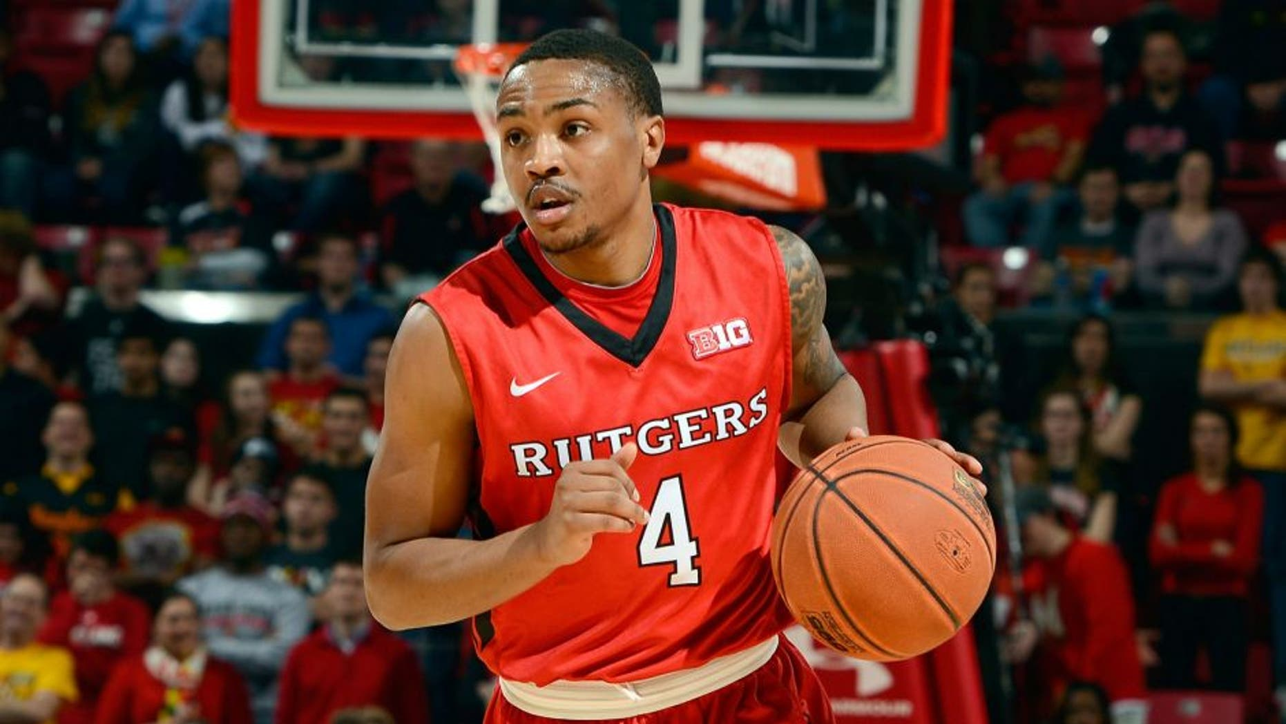 COLLEGE PARK, MD - JANUARY 14: Myles Mack #4 of the Rutgers Scarlet Knights handles the ball against the Maryland Terrapins at the Xfinity Center on January 14, 2015 in College Park, Maryland. (Photo by G Fiume/Maryland Terrapins/Getty Images)